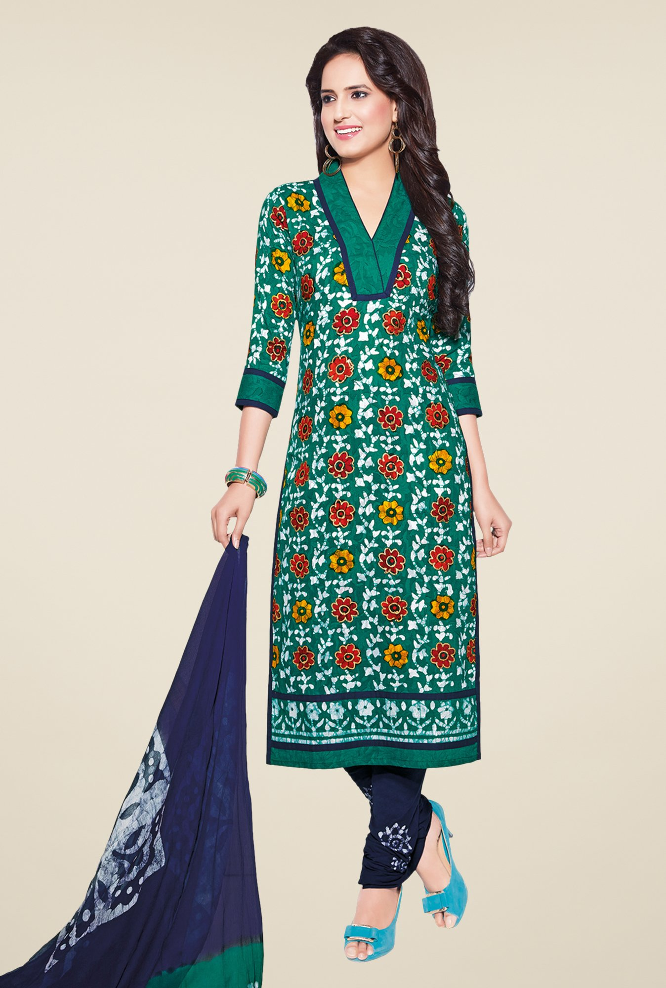 Salwar Studio Teal & Navy Batik Print Dress Material