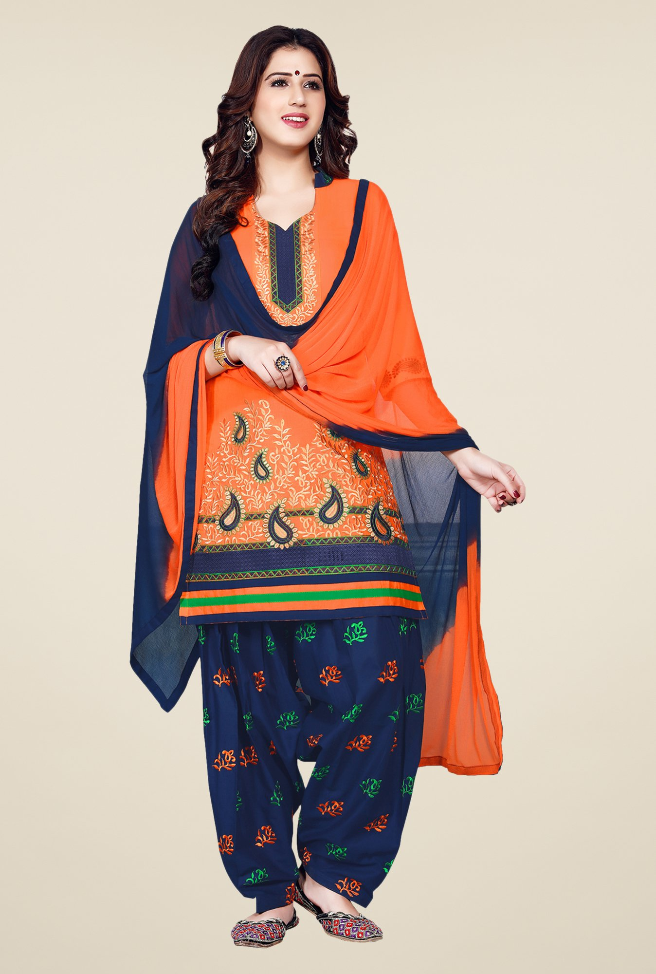 Salwar Studio Orange & Dark Blue Patiala Dress Material