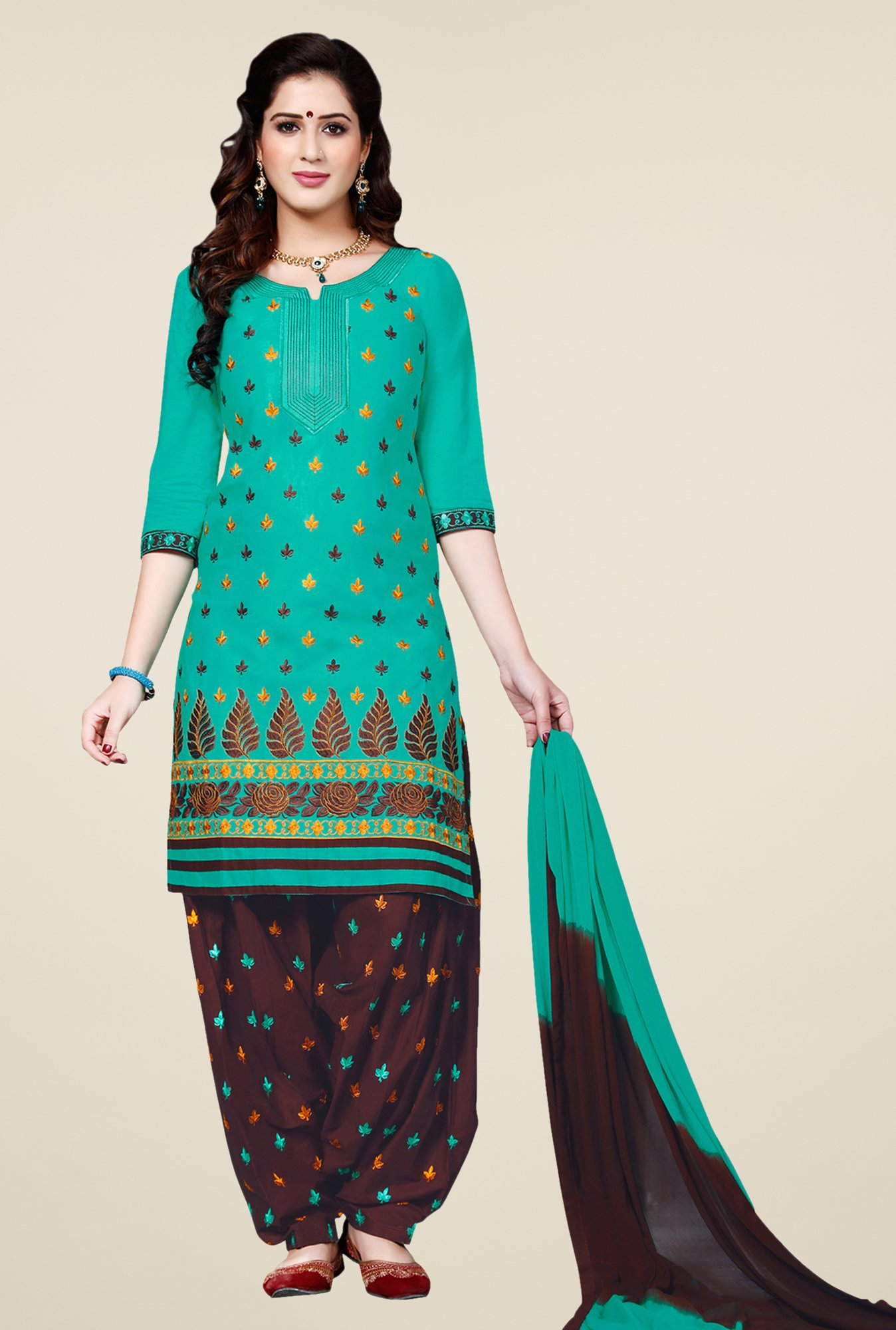 Salwar Studio Teal & Brown Patiala Dress Material
