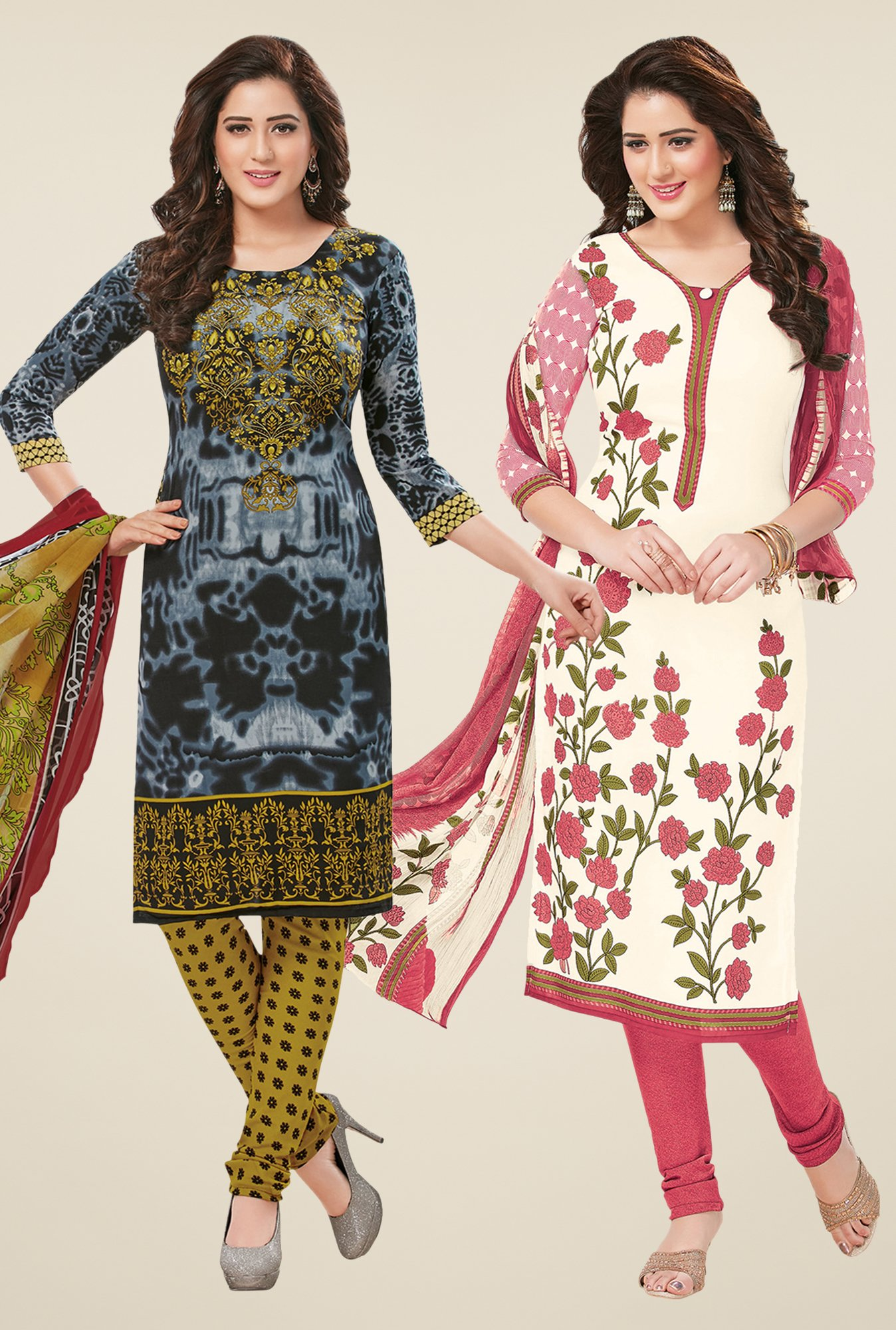 Salwar Studio Grey & Off White Dress Material (Pack Of 2)