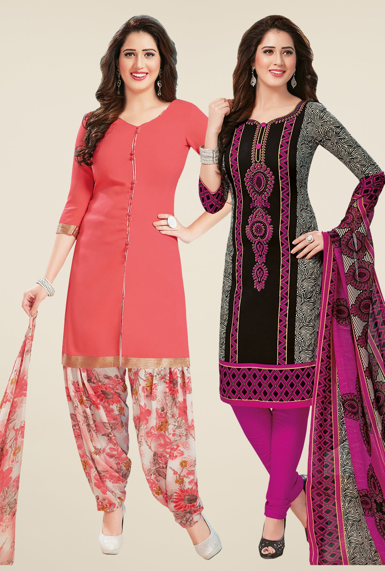 Salwar Studio Peach & Black Dress Material (Pack Of 2)
