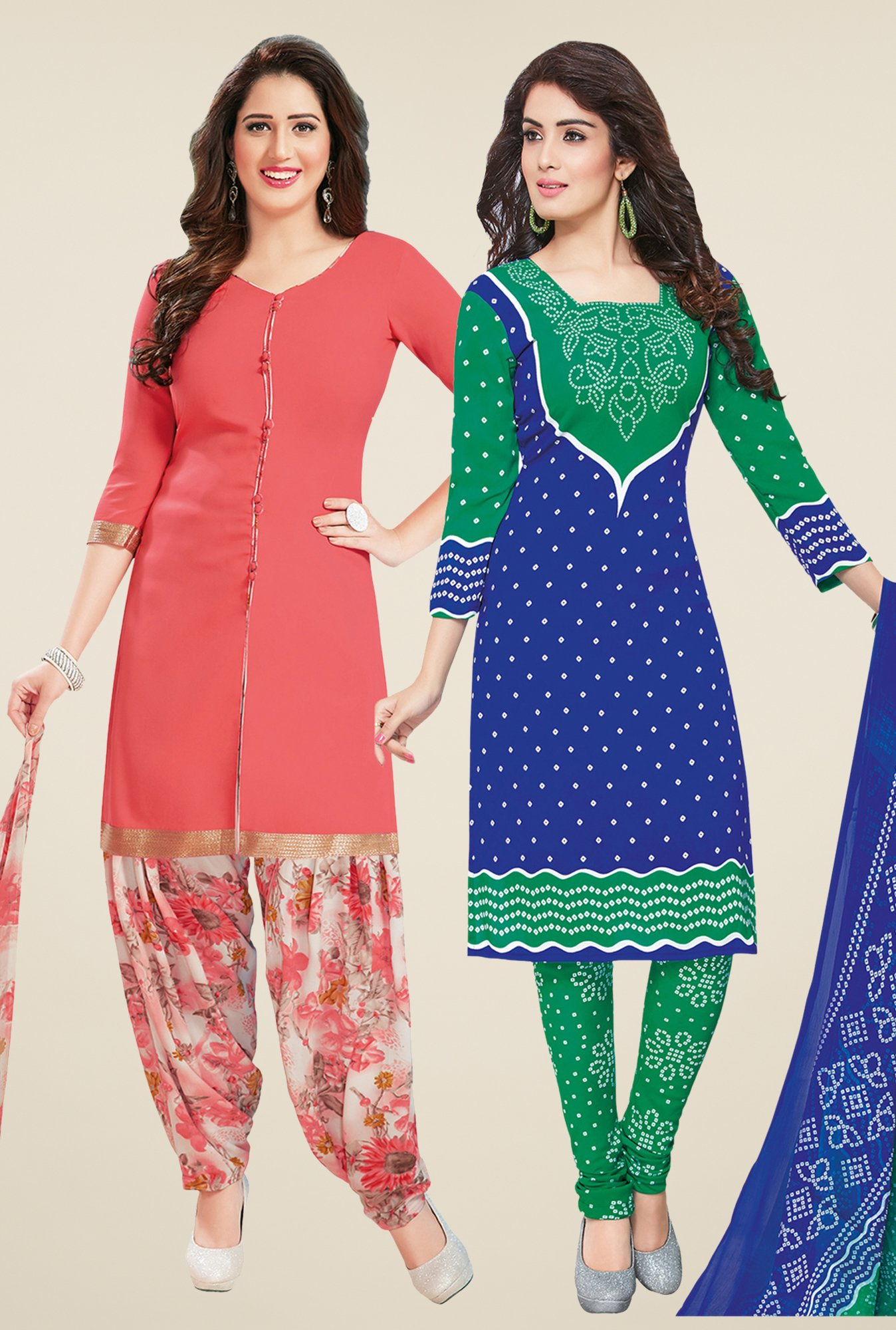 Salwar Studio Peach & Blue Dress Material (Pack Of 2)