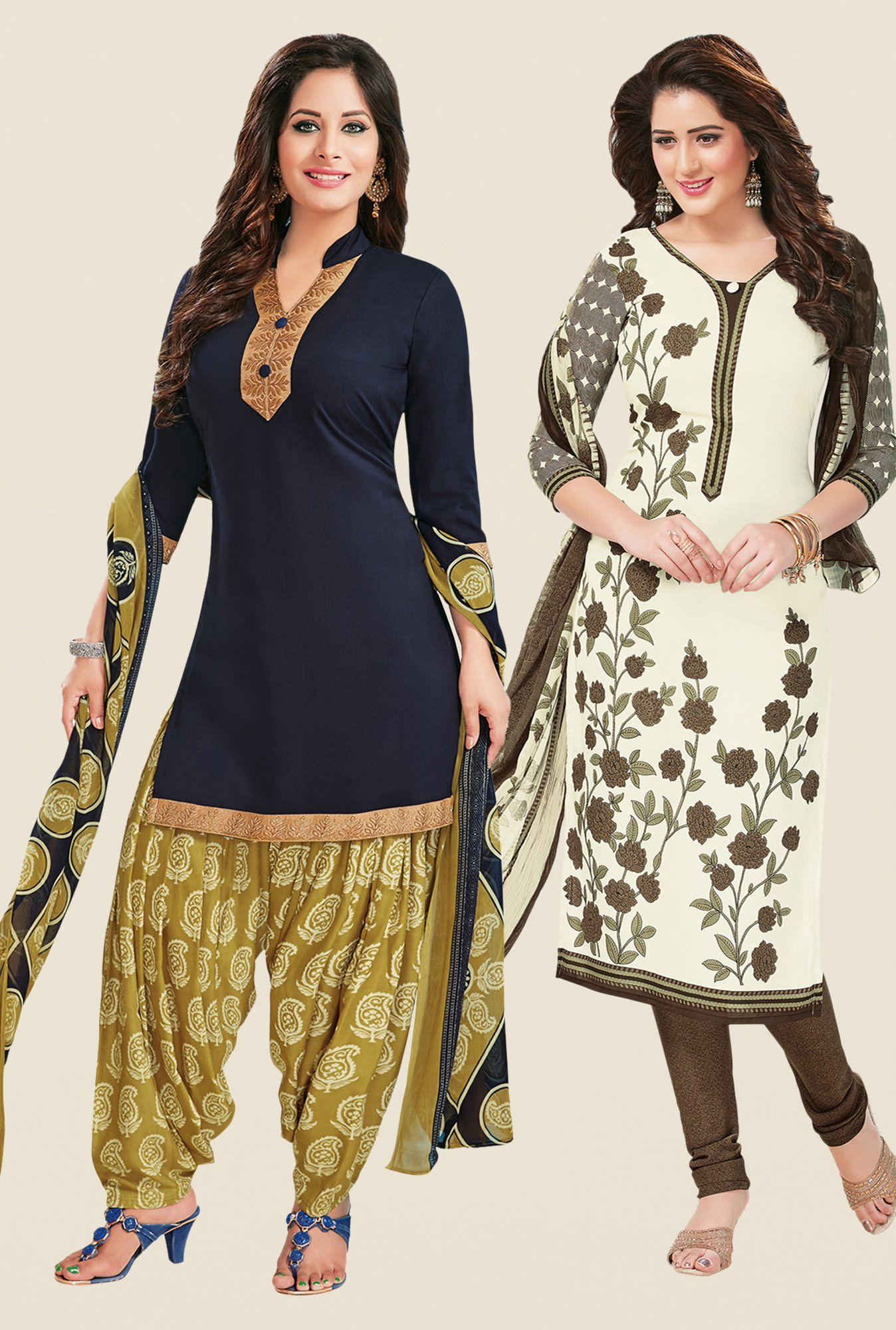 Salwar Studio Navy & Cream Dress Material (Pack Of 2)