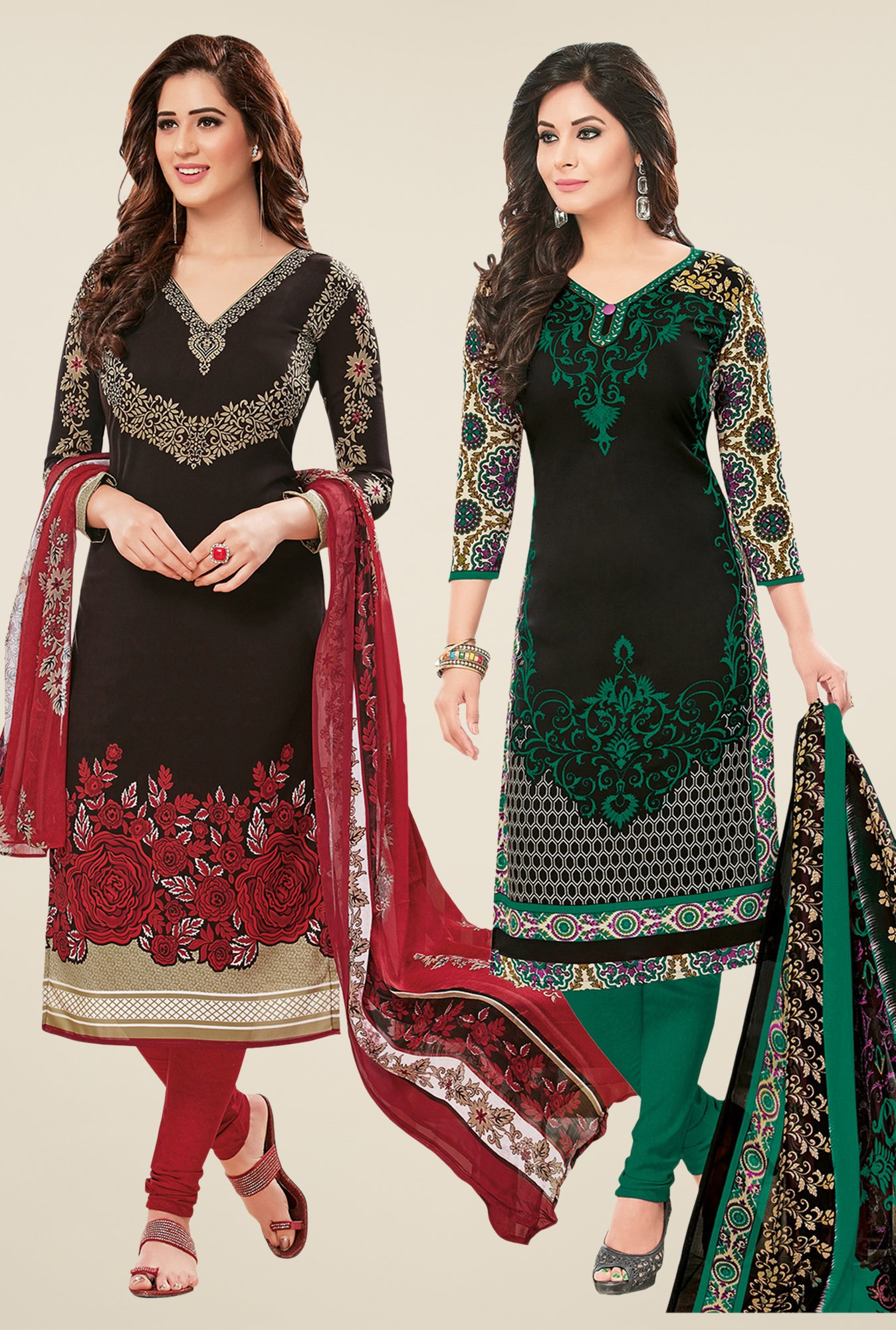 Salwar Studio Black Dress Material (Pack Of 2)