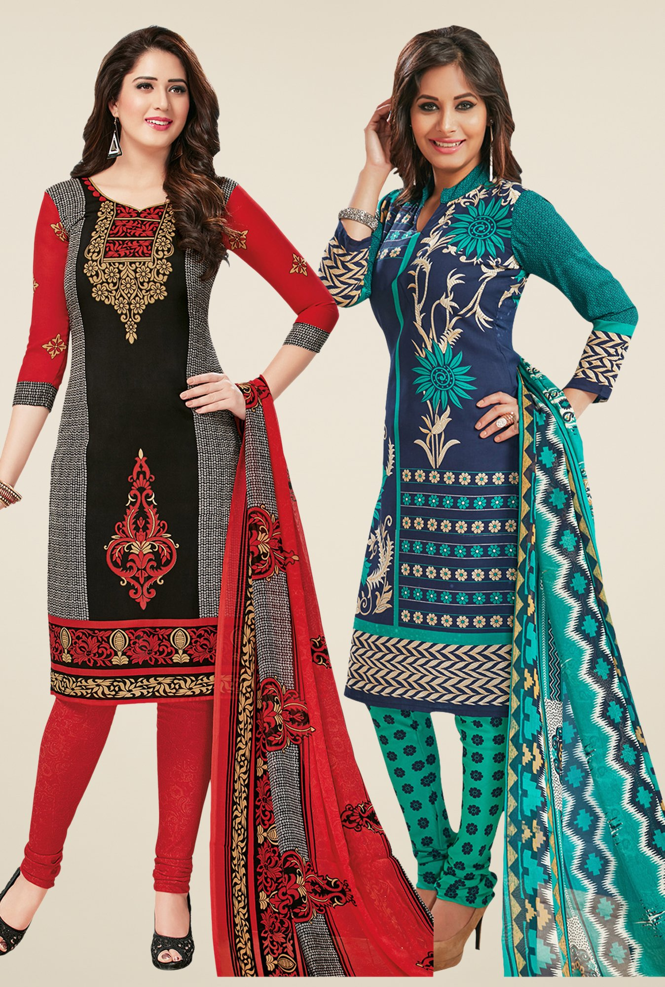 Salwar Studio Black & Navy Dress Material (Pack Of 2)