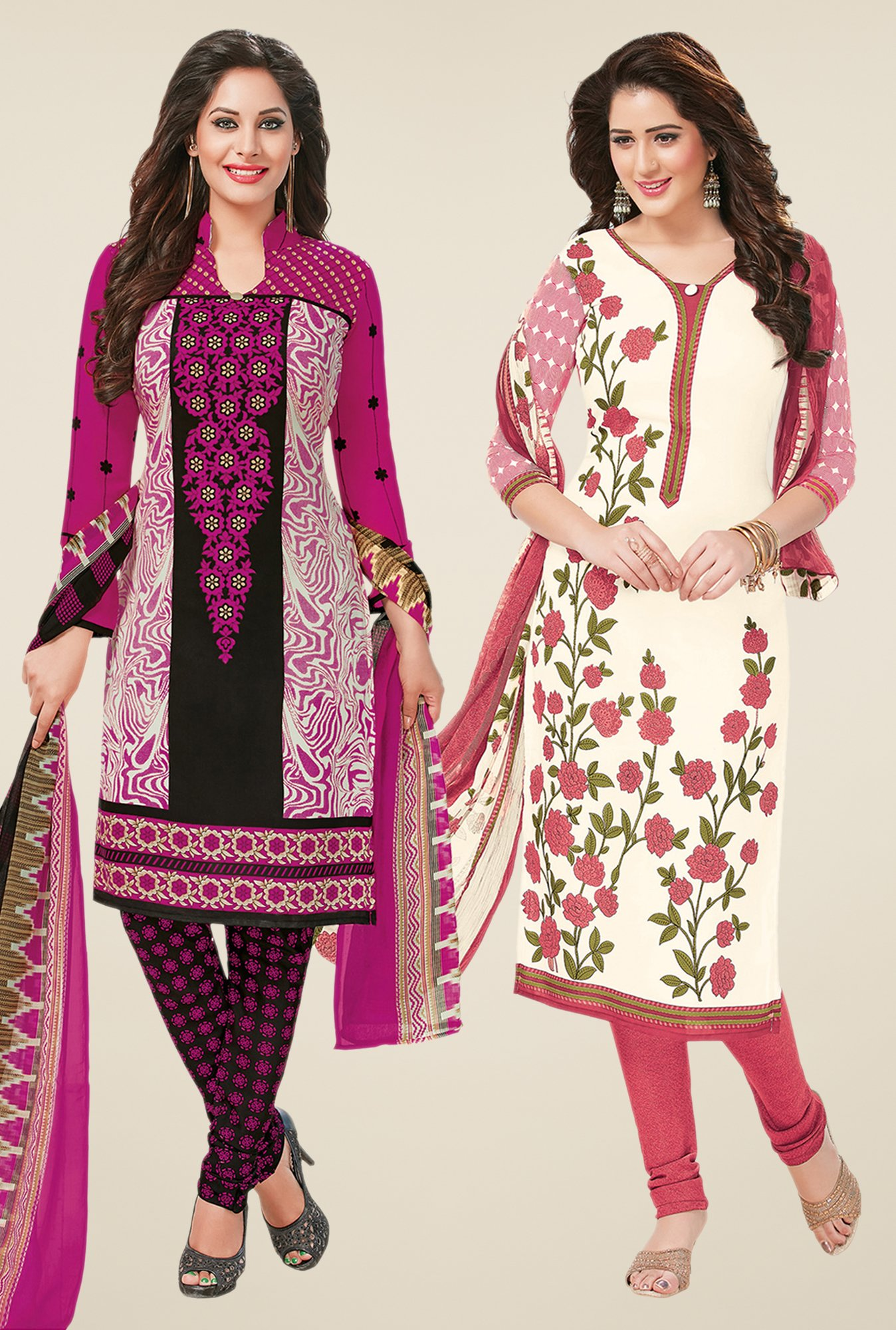 Salwar Studio Magenta & Off White Dress Material (Pack Of 2)