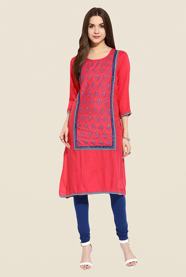 Mytri Coral Embroidered Kurta