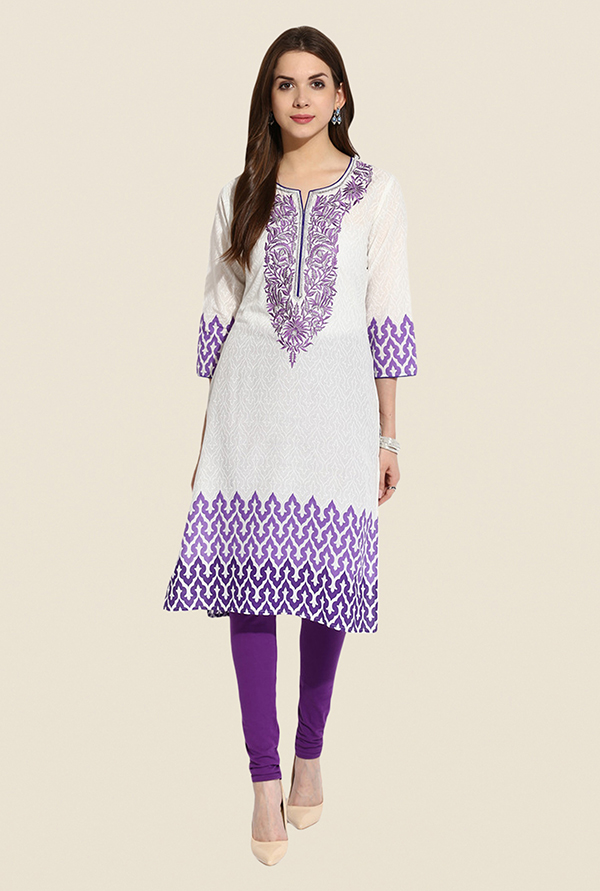 Mytri White & Purple Embroidered Kurta