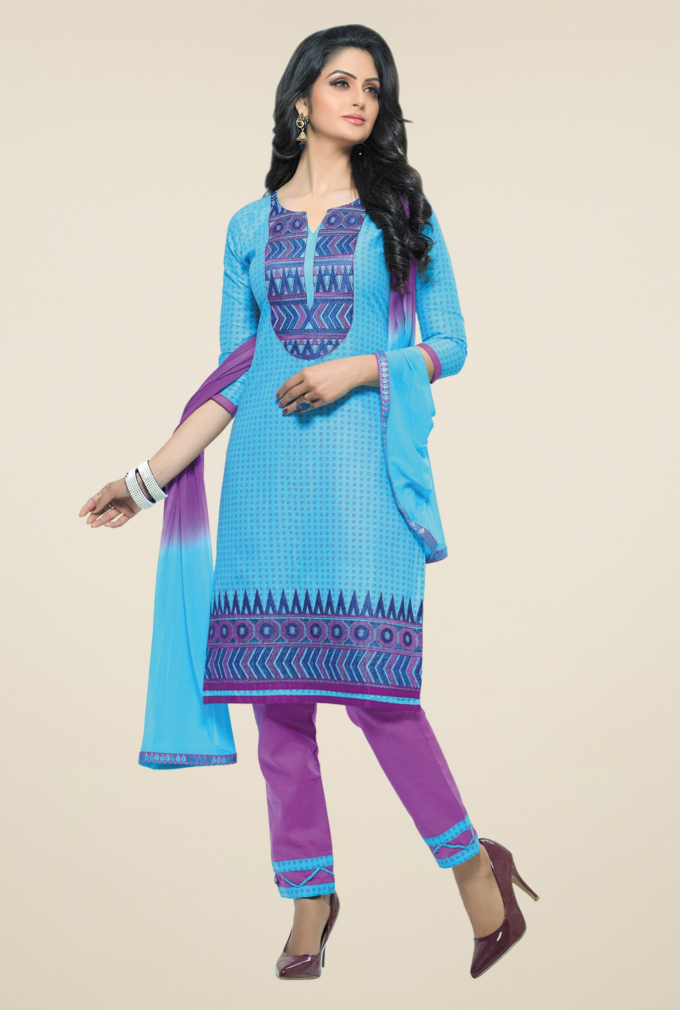Salwar Studio Blue & Purple Dress Material with Dupatta