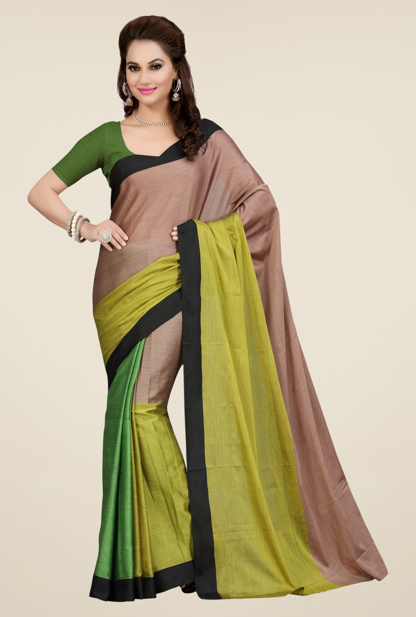 Ishin Multicolor Textured Poly Silk Saree
