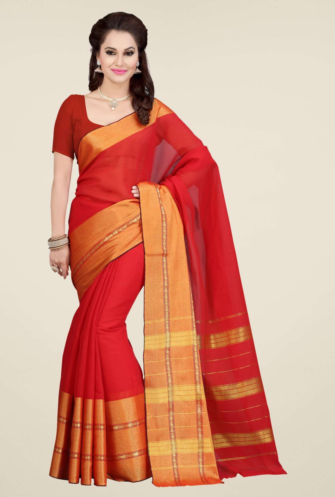 Ishin Red Solid Malgudi Cotton Saree