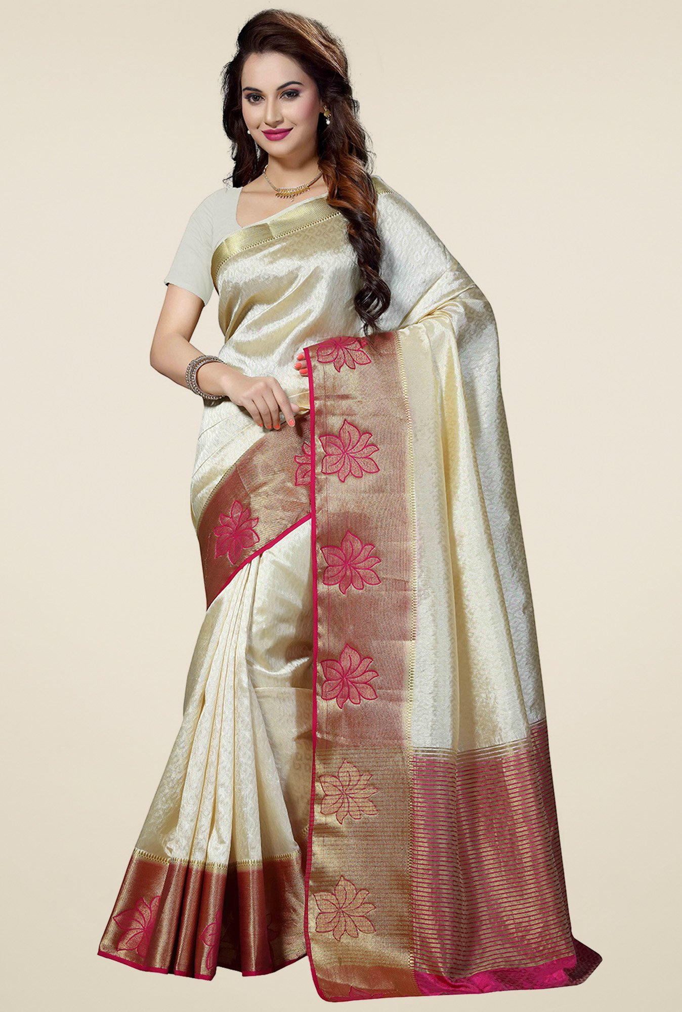 Ishin White Woven Zari Border Saree with Richpallu