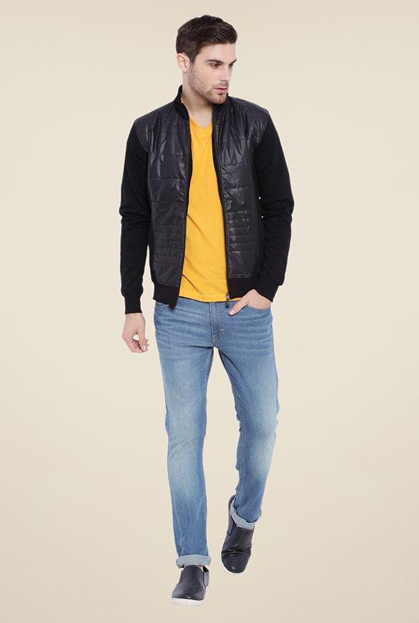 Campus Sutra Black Solid Jacket