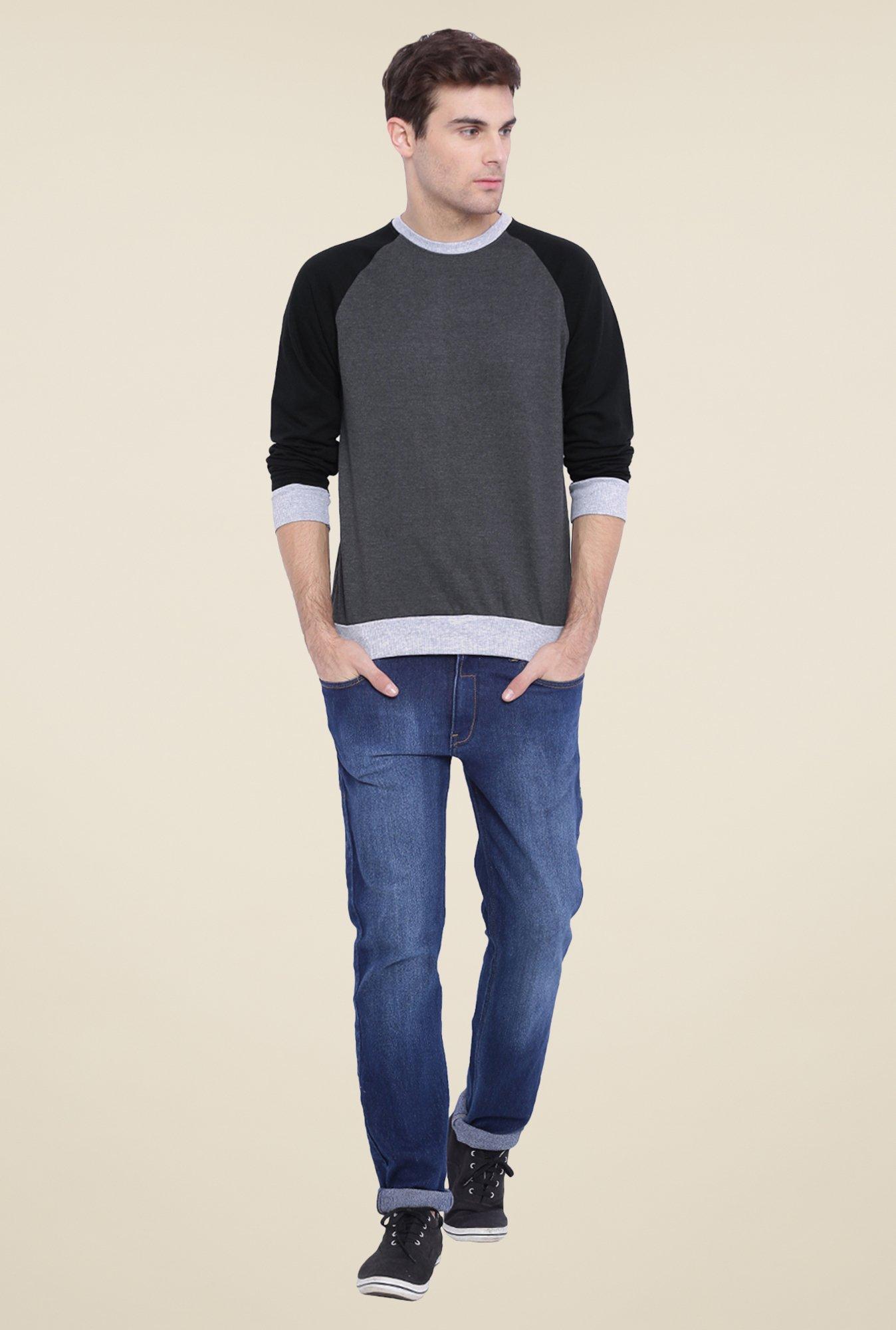 Campus Sutra Dark Grey Solid Sweatshirt