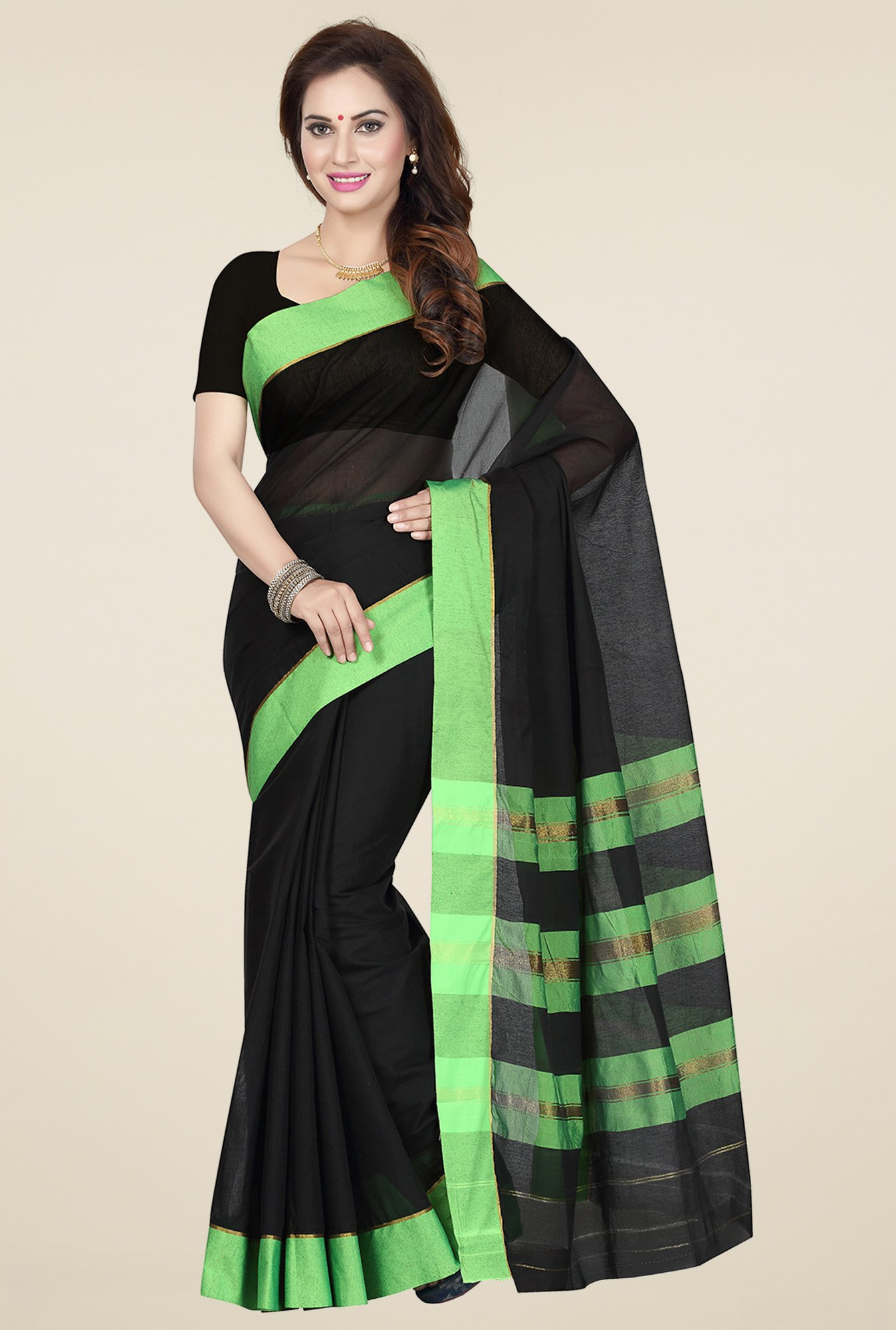 Ishin Black & Green Cotton Printed Saree