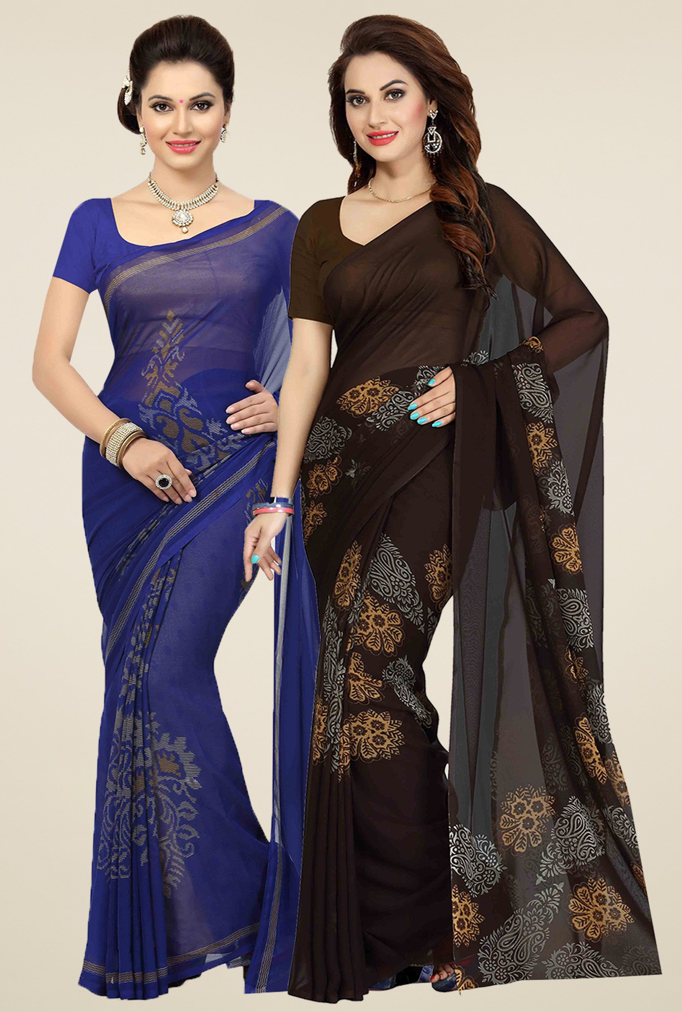 Ishin Blue & Brown Printed Sarees (Pack of 2)