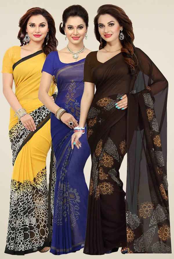 Ishin Yellow, Blue & Brown Printed Sarees (Pack of 3)