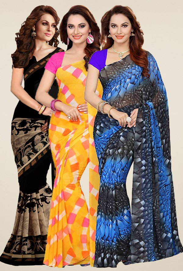 Ishin Black, Yellow & Blue Printed Sarees (Pack of 3)