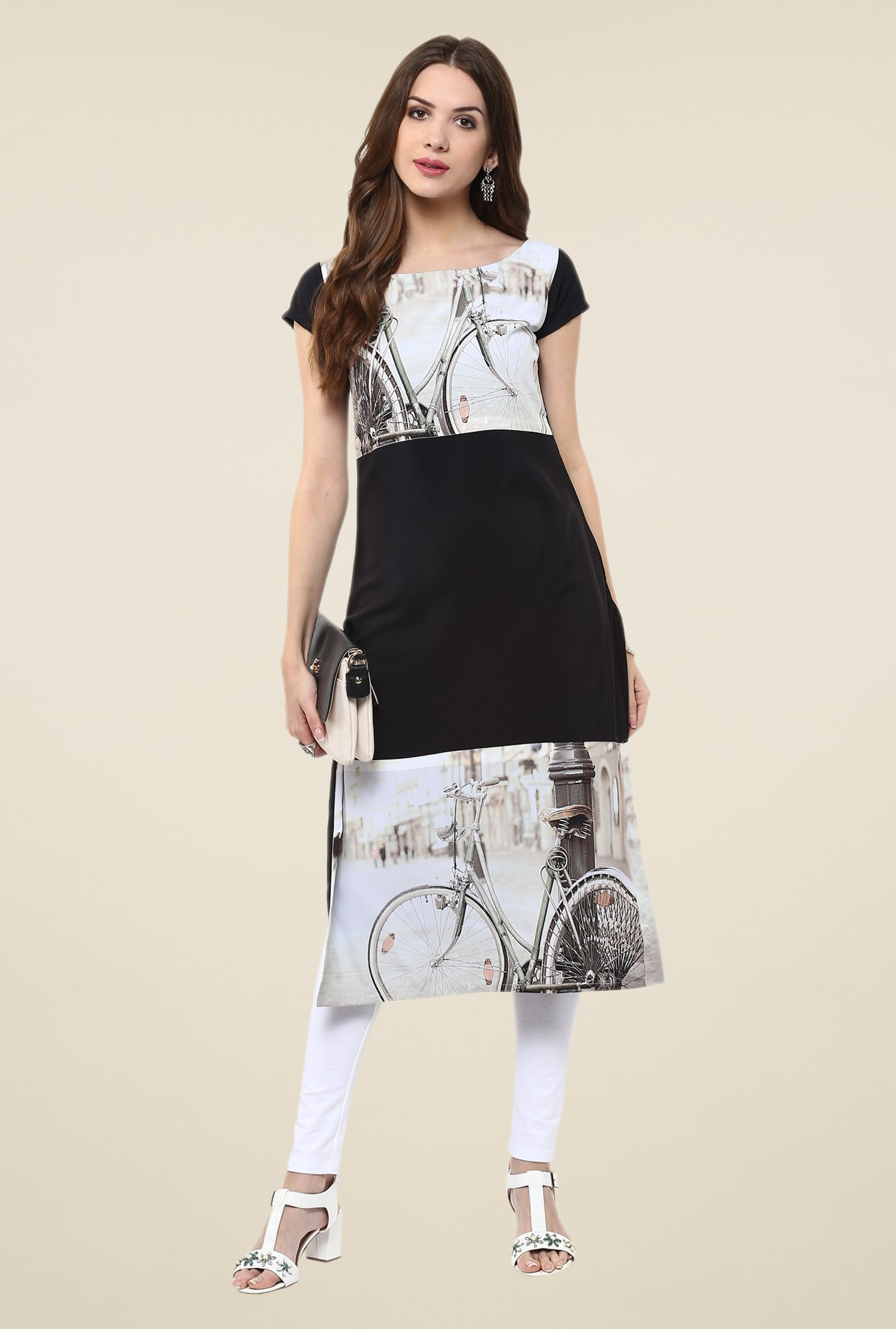 Janasya Black & White Printed Kurta