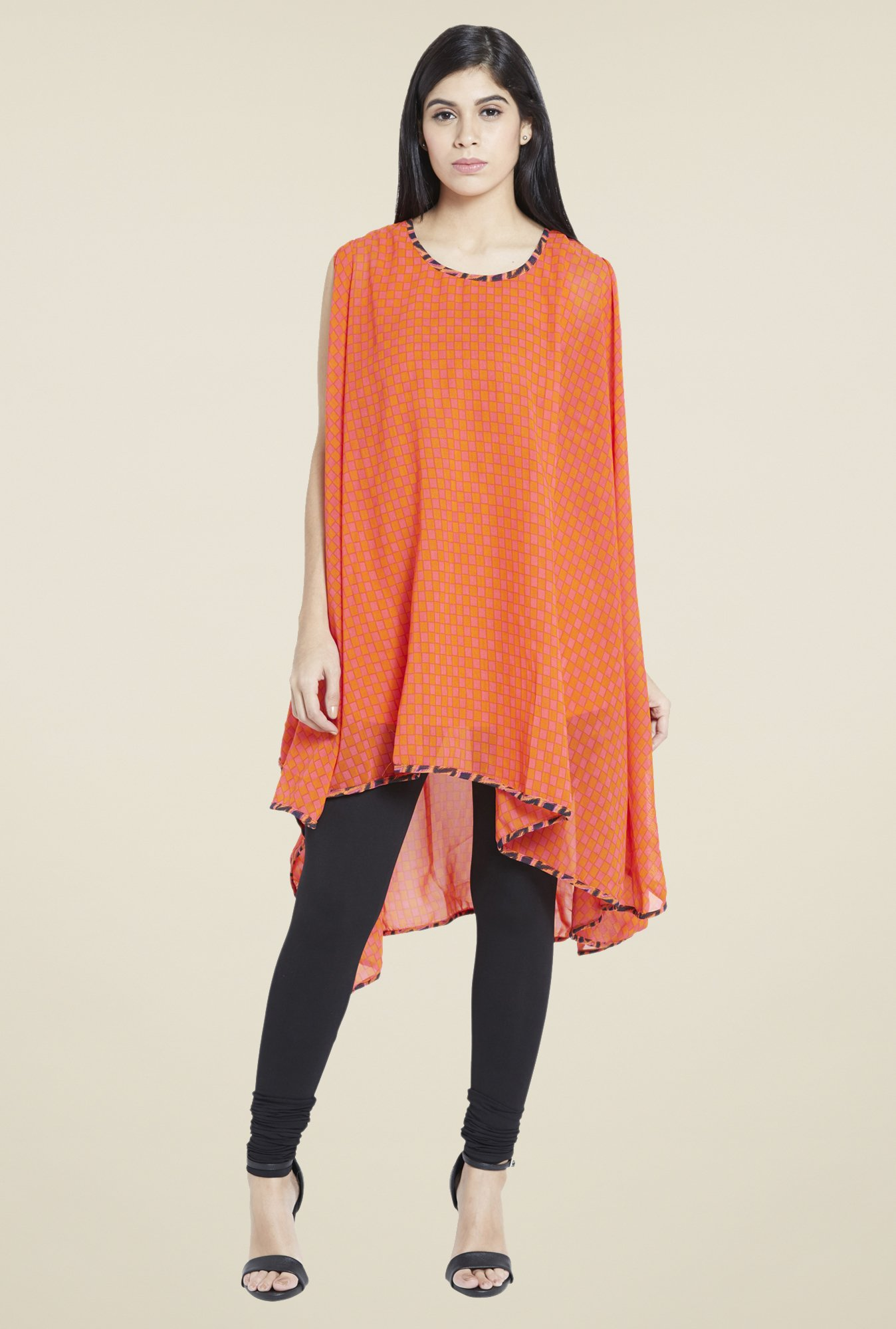 Globus Orange Checks Kurti