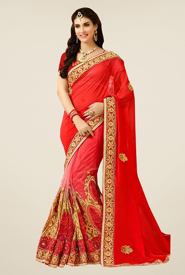 Triveni Red Embroidered Viscose Net Saree