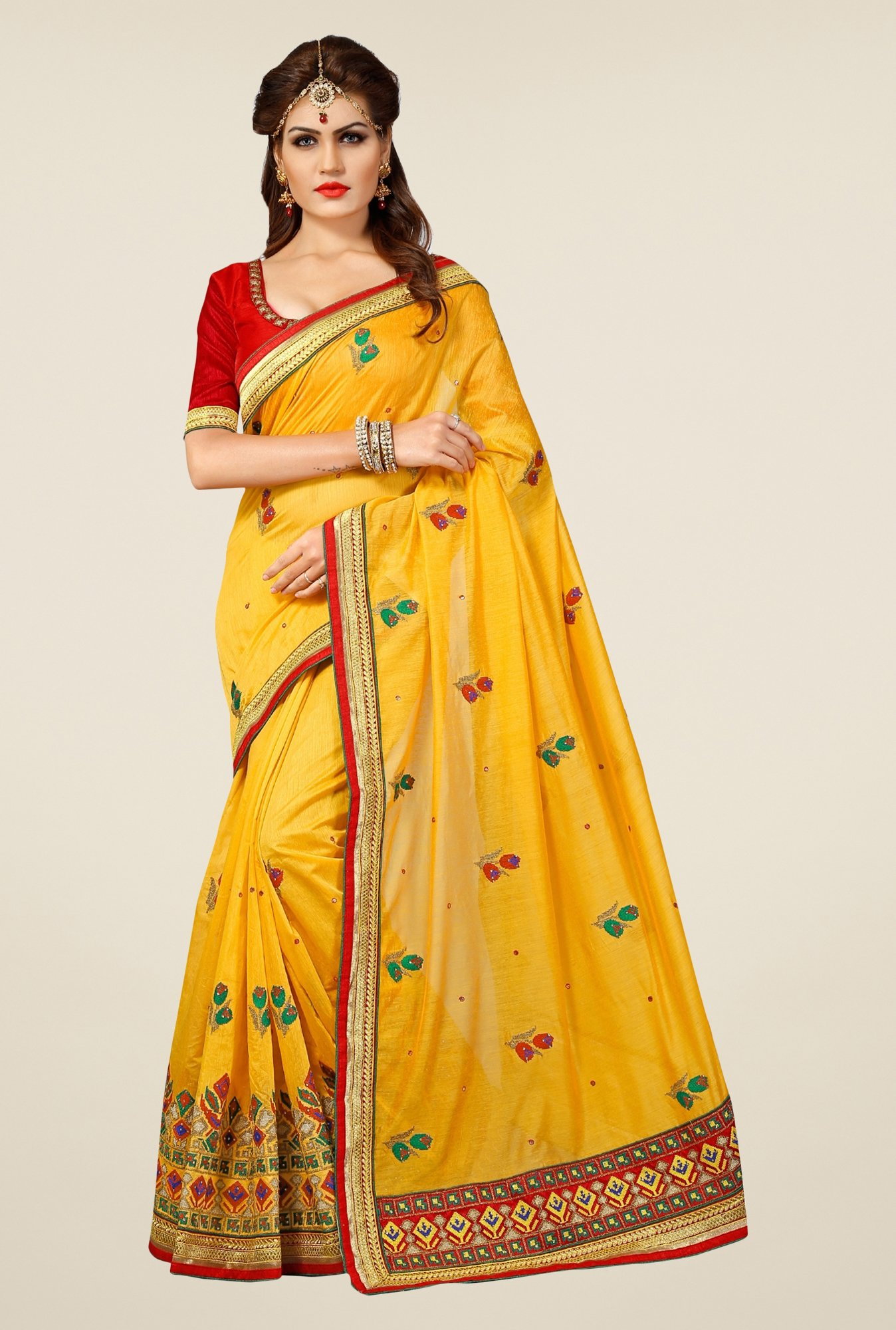 Triveni Mustard Embroidered Chanderi Silk Saree