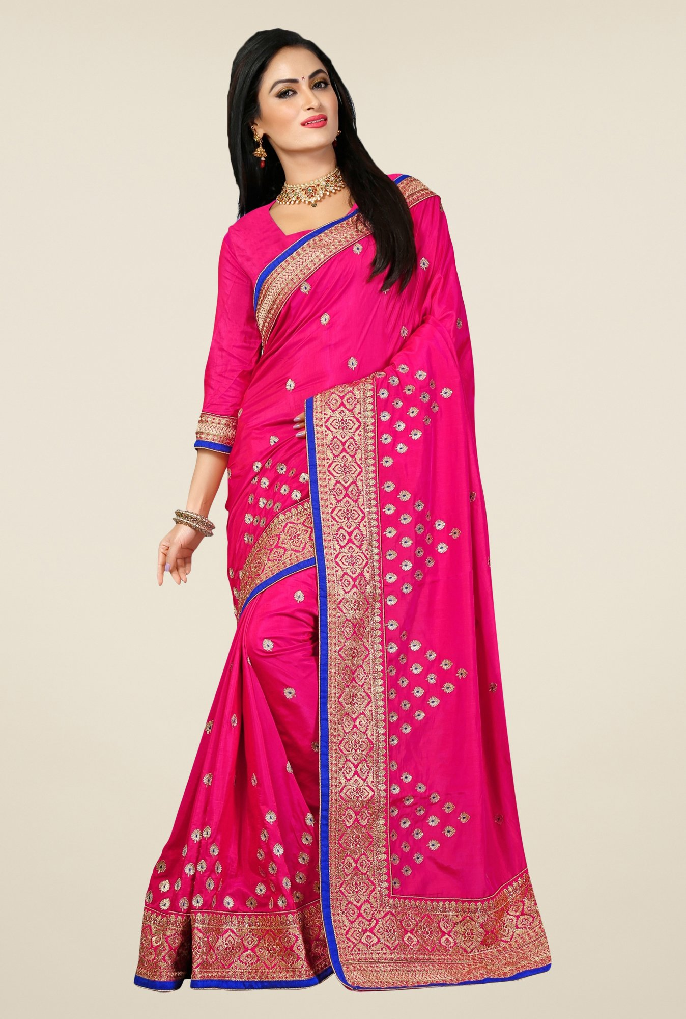 Triveni Pink Embroidered Bhagalpuri Silk Saree