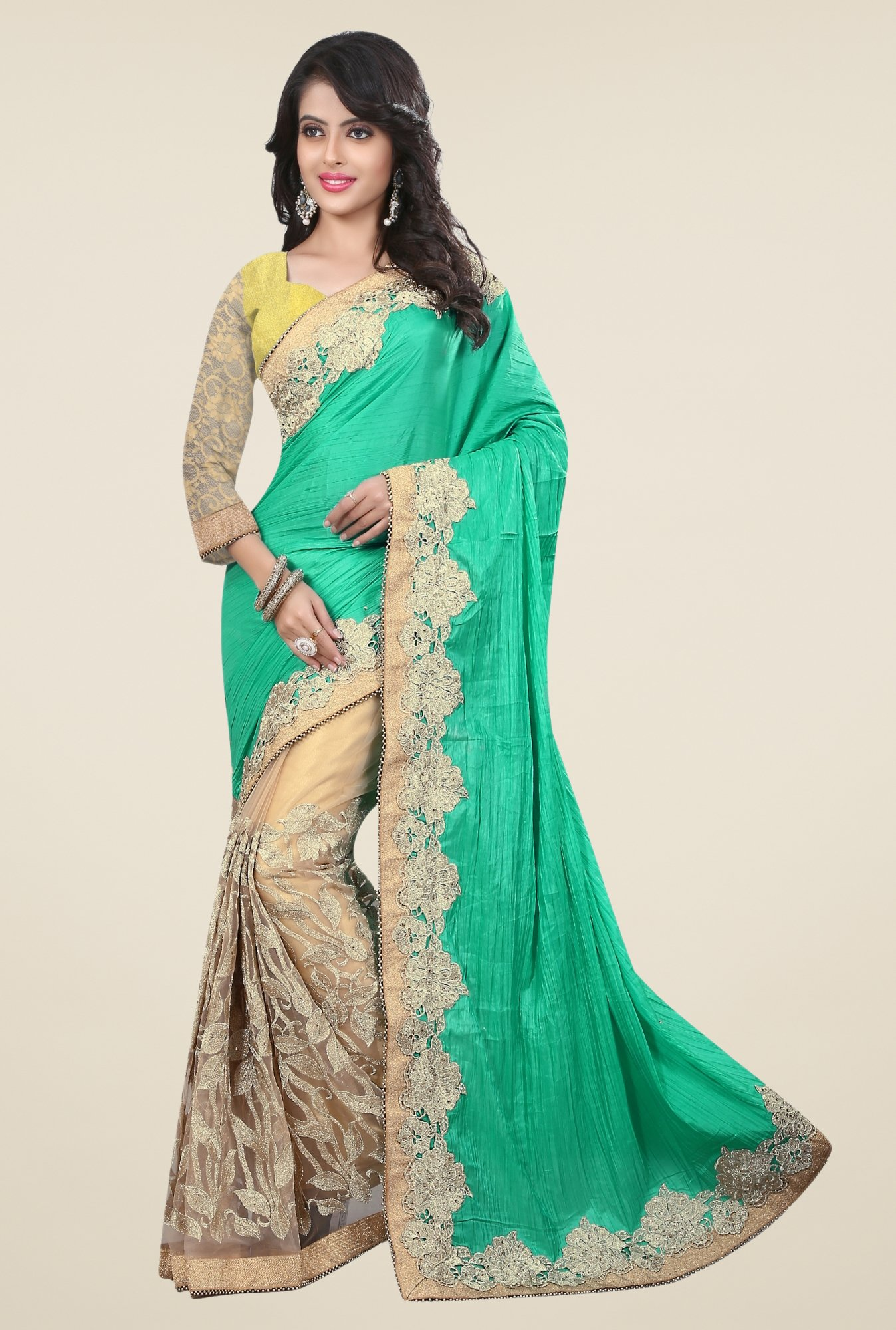 Triveni Beige & Green Embroidered Art Silk Net Saree