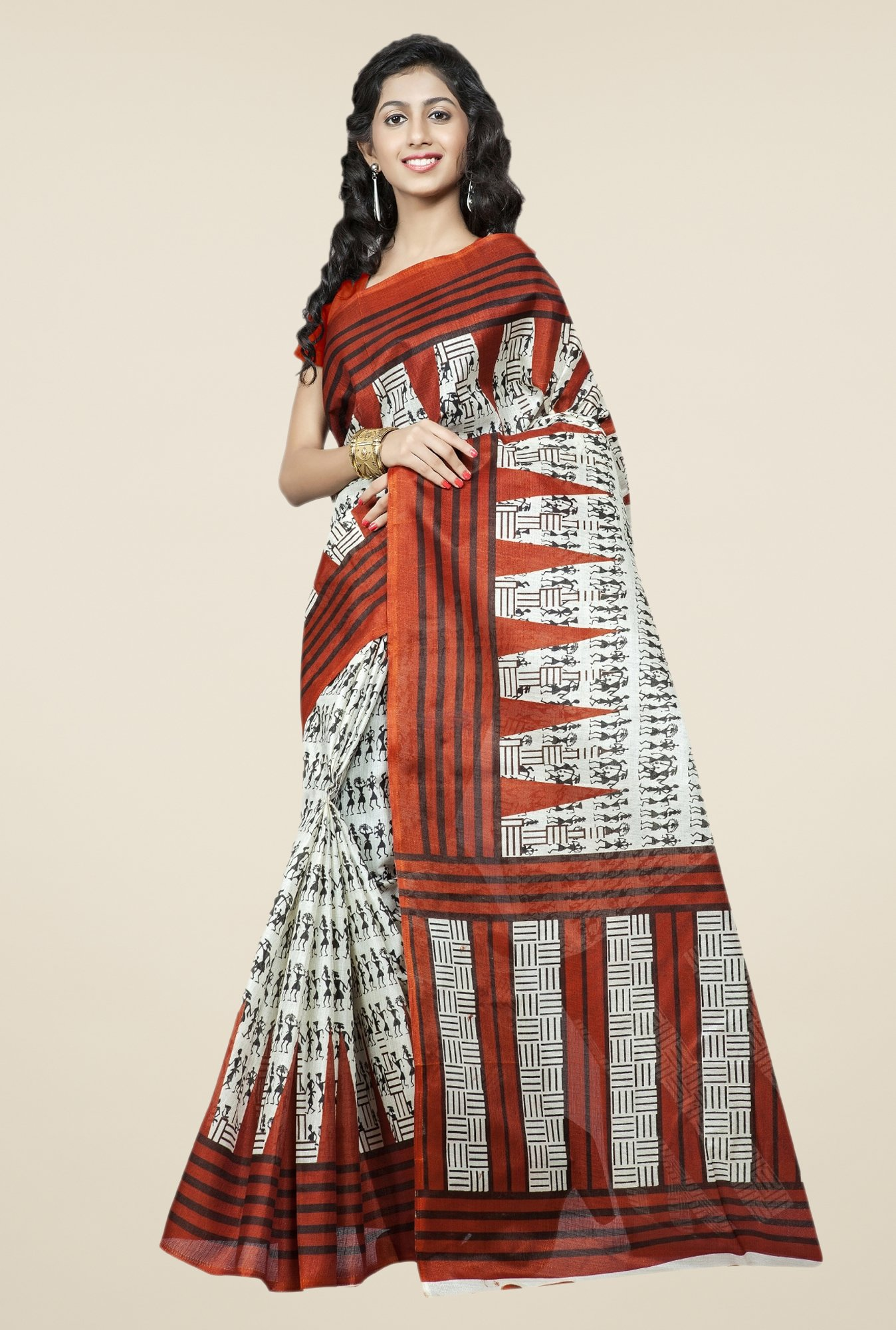 Triveni Off White & Brown Printed Bhagalpuri Silk Saree