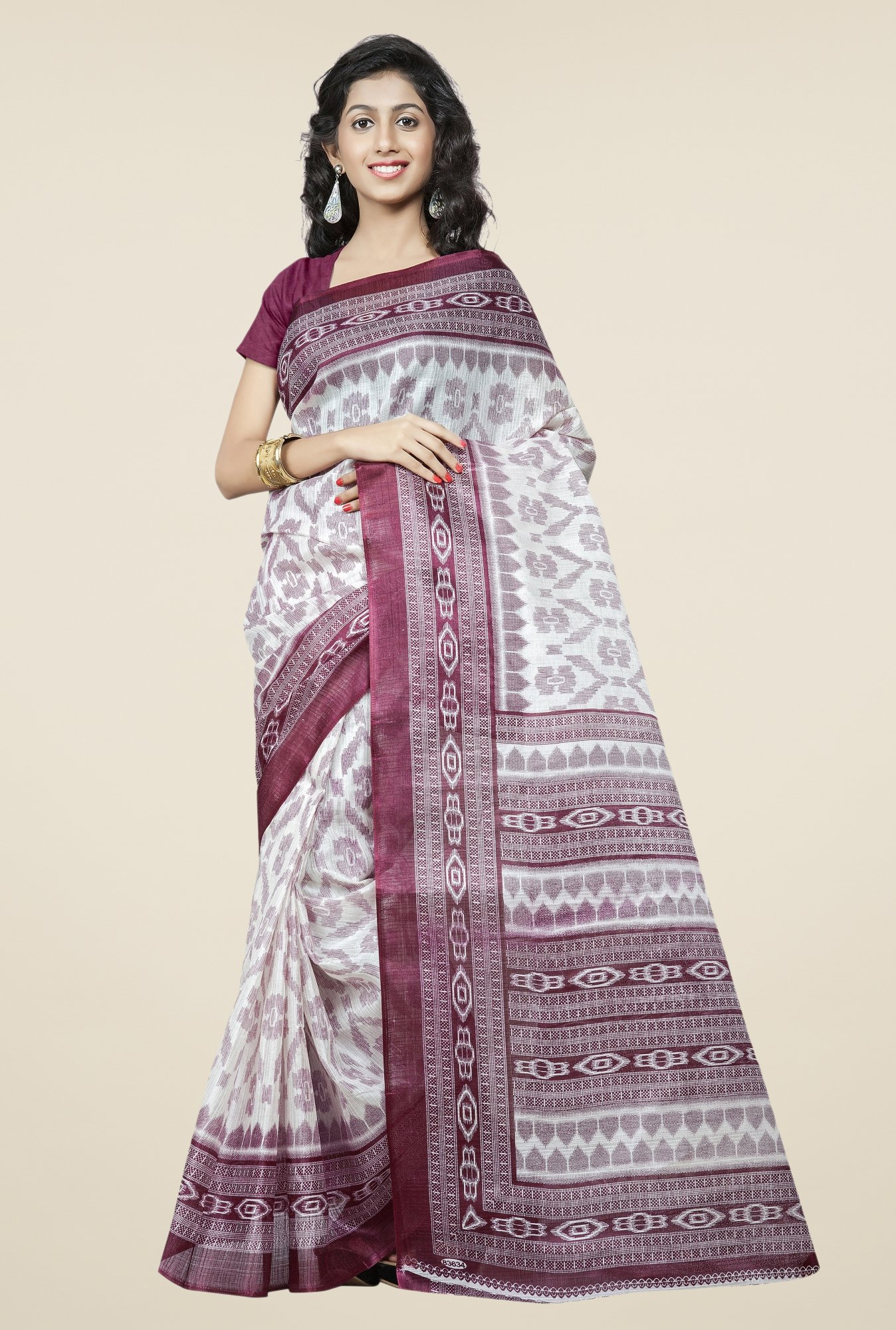 Triveni Off White & Wine Printed Bhagalpuri Silk Saree