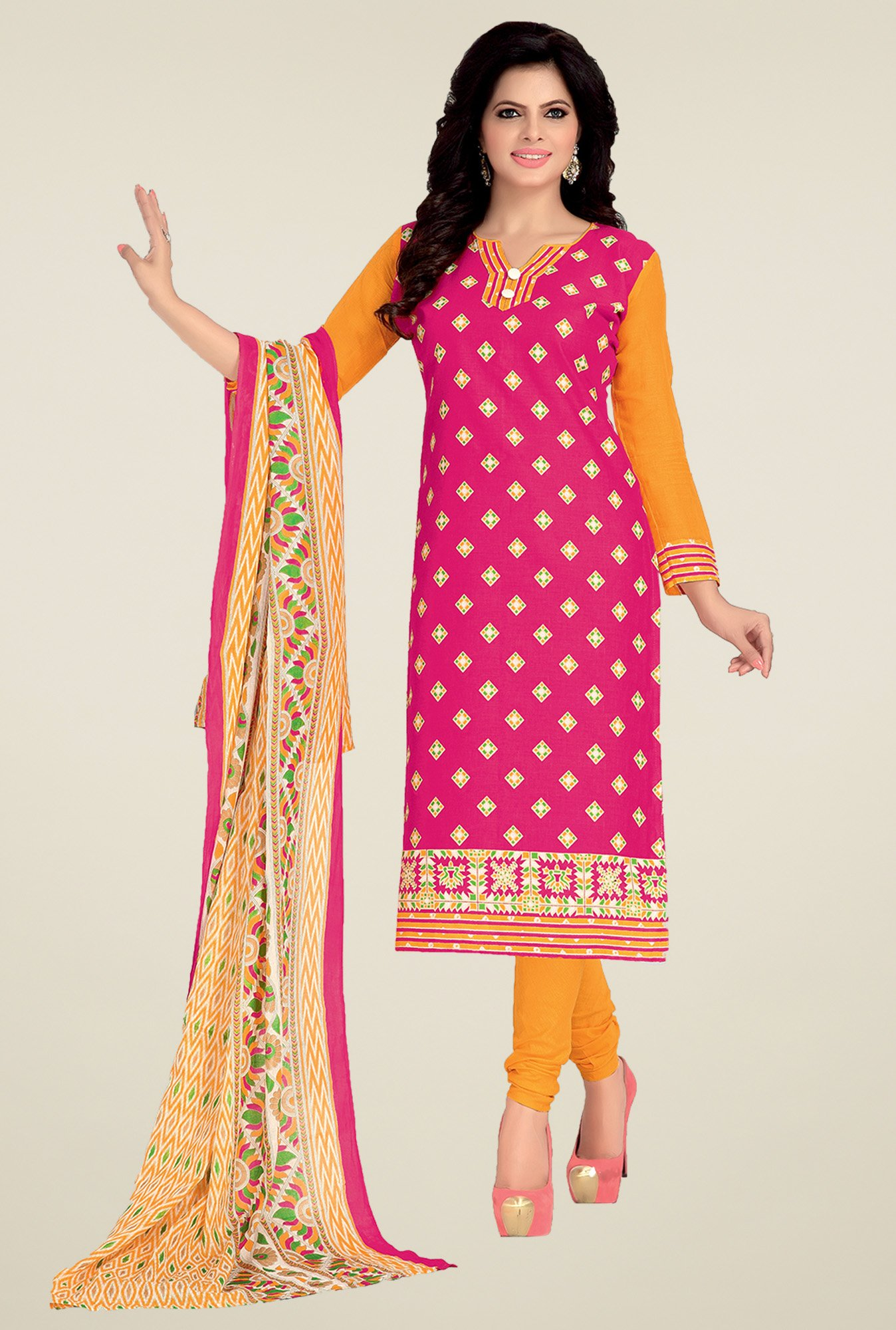Ishin Pink & Yellow Printed Dress Material