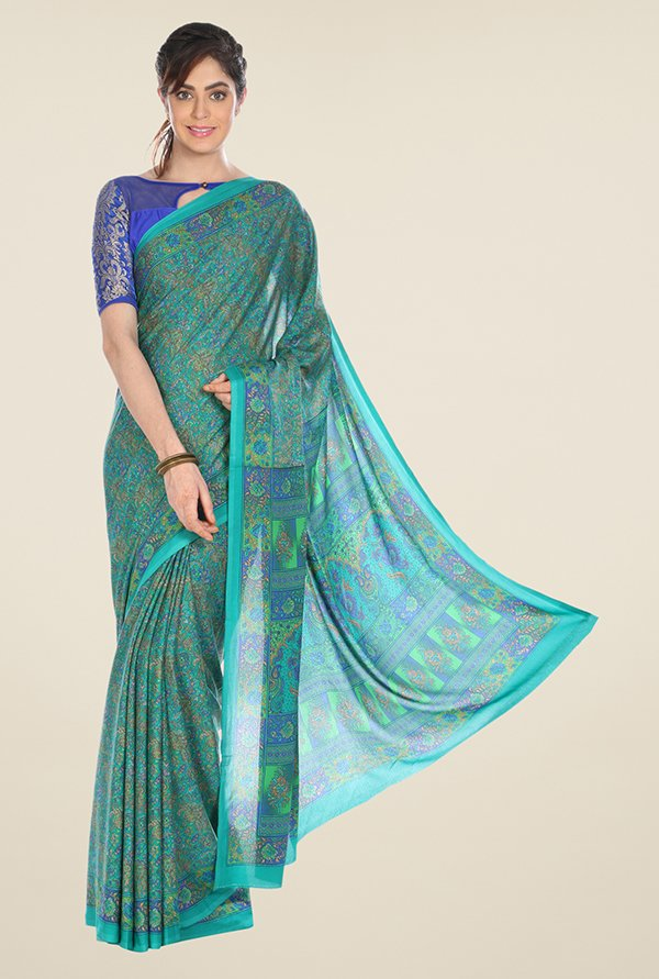 Jashn Teal Printed Crepe Saree
