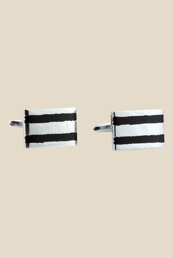 Satya Paul Silver and Black Metal Cufflinks