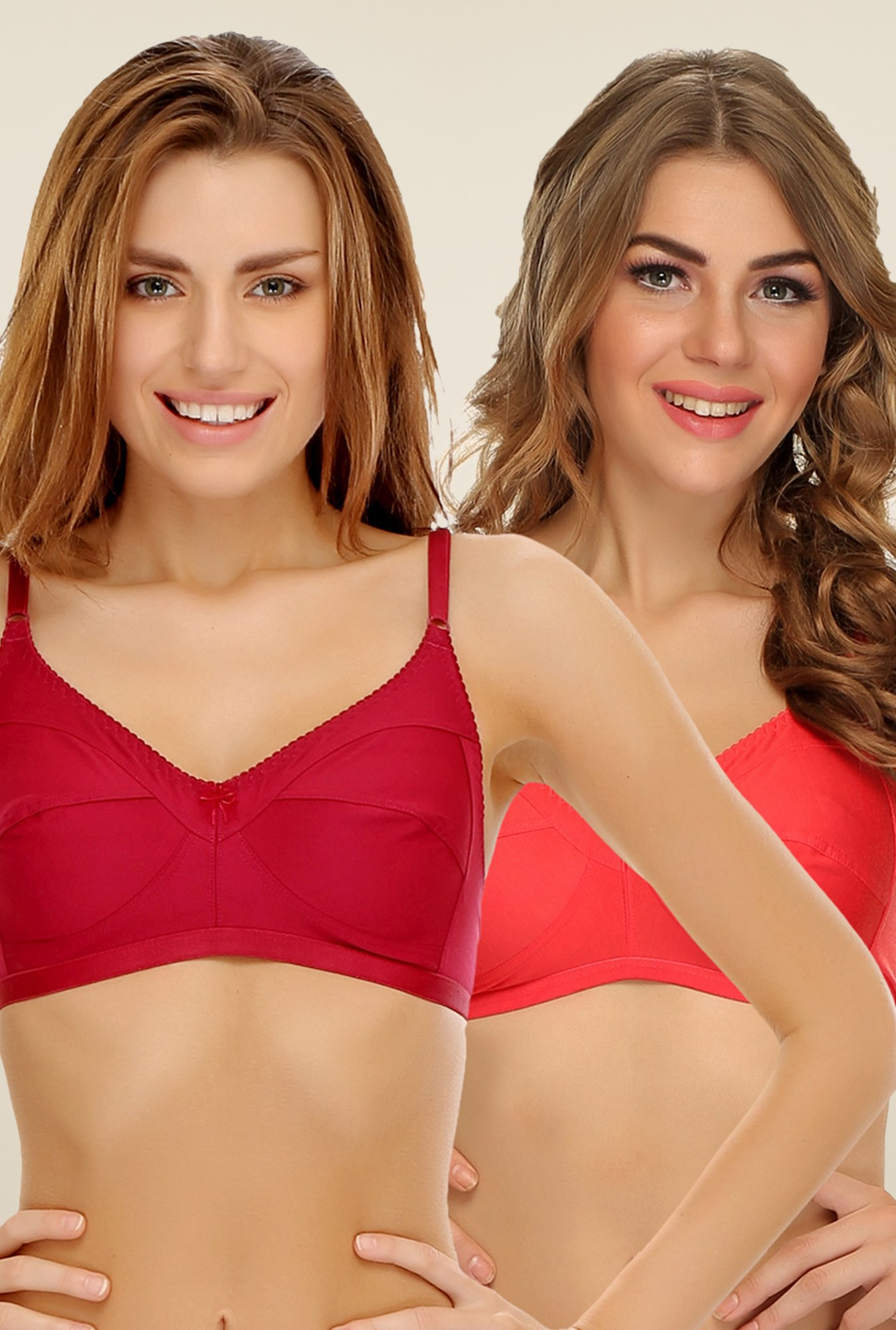 Clovia Maroon & Coral Non Padded Bra (Pack Of 2)