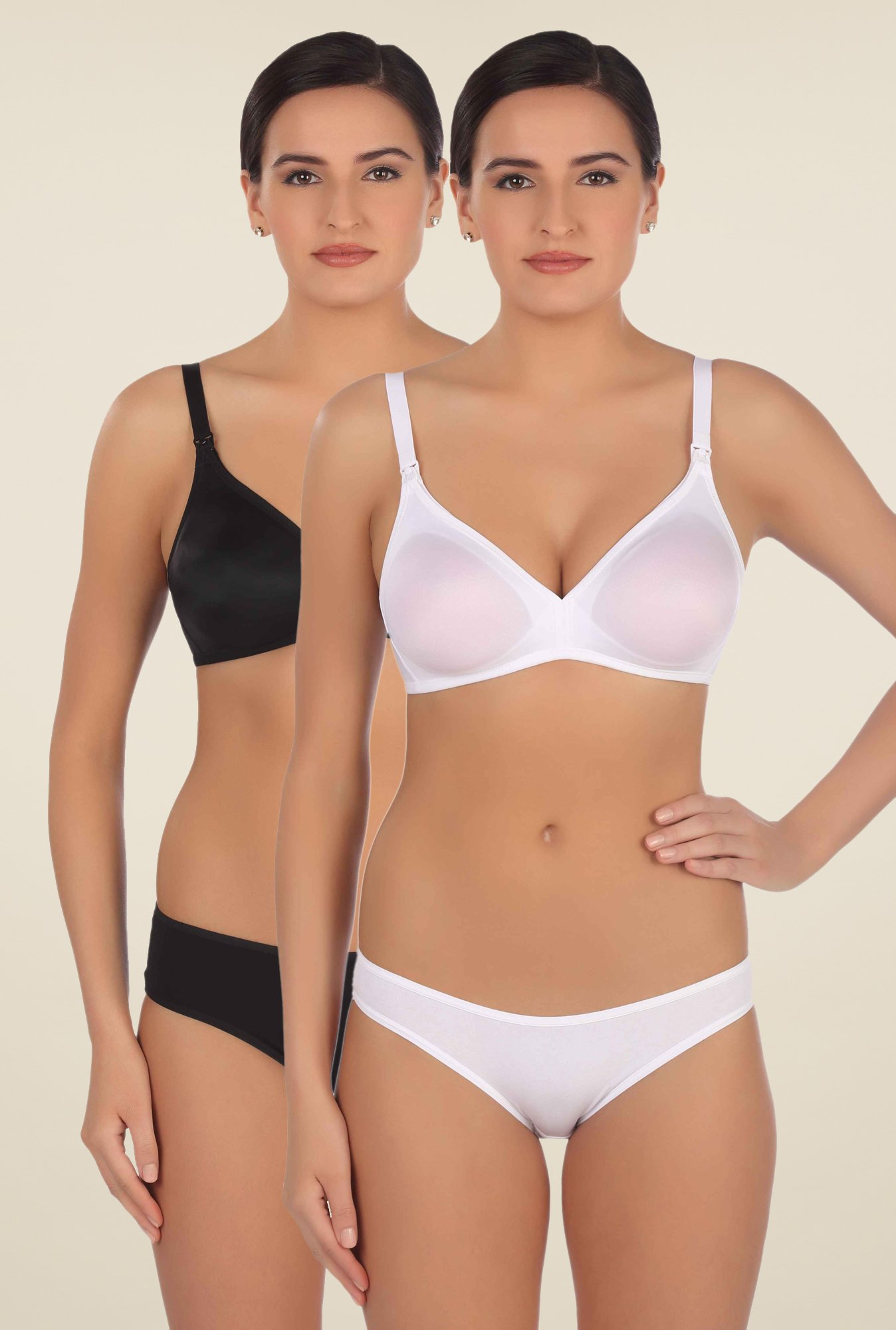 Triumph White & Black Non Padded Bra (Pack Of 2)