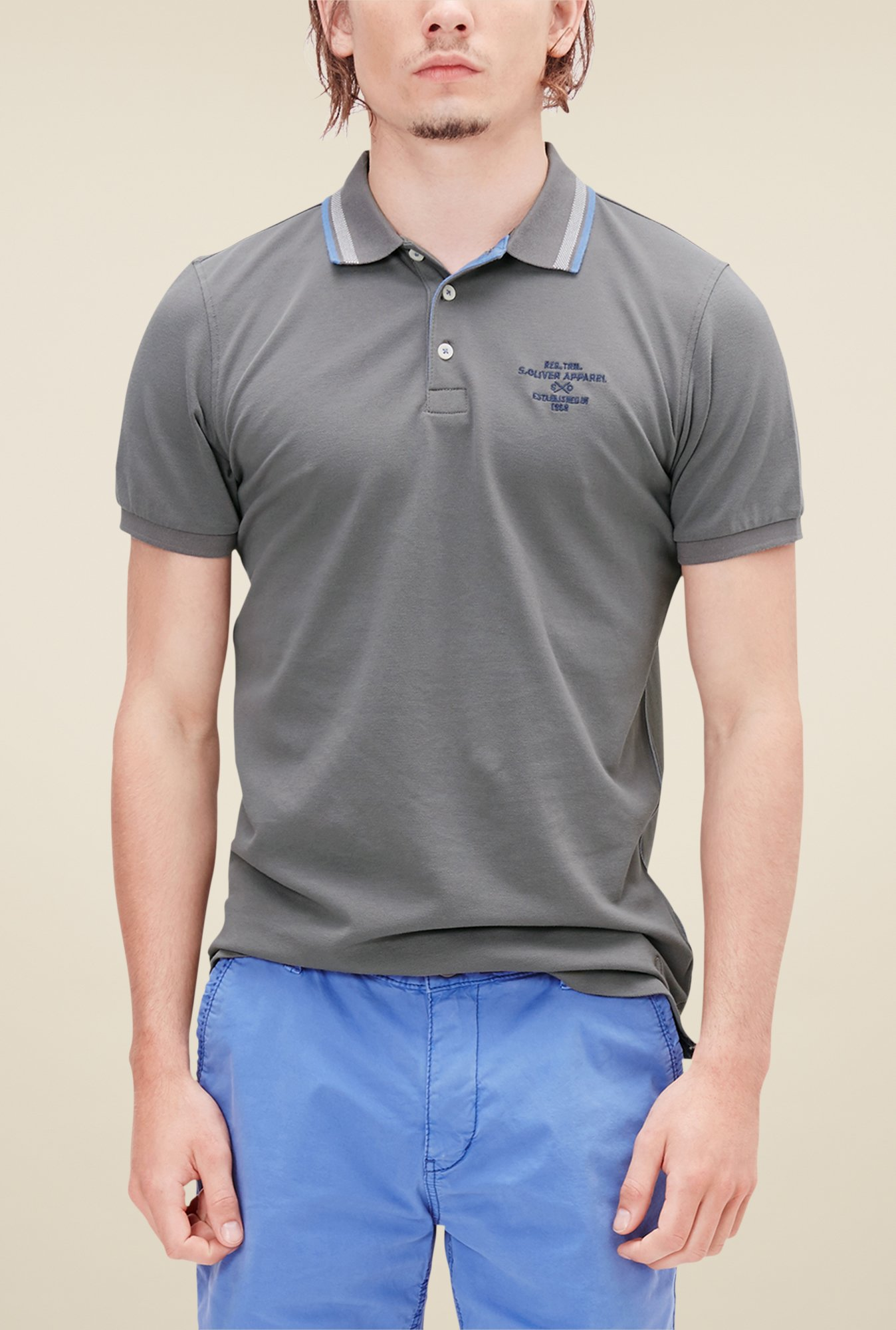 buy s oliver grey solid polo t shirt for men online tata. Black Bedroom Furniture Sets. Home Design Ideas