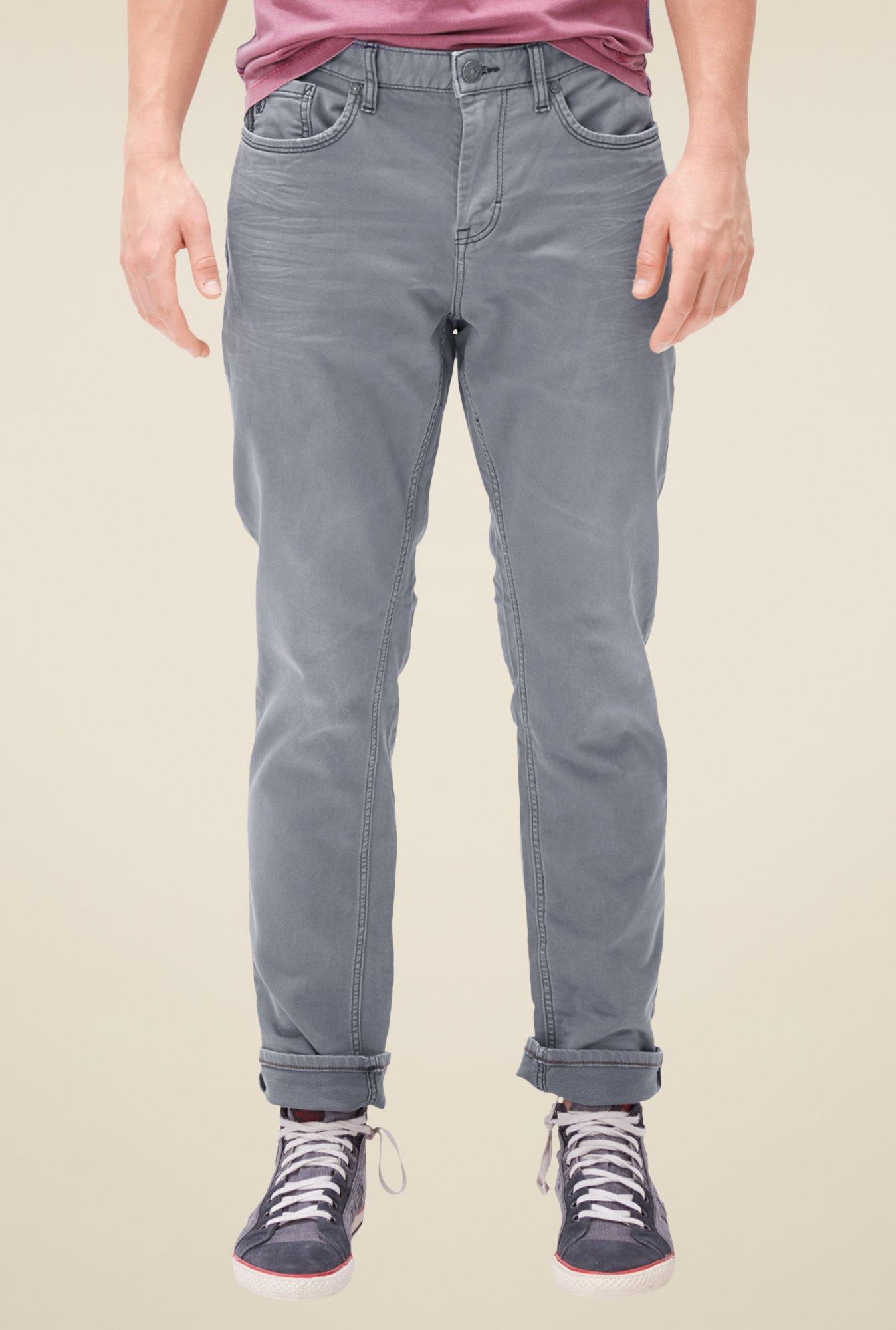 buy s oliver grey raw denim jeans for men online tata cliq. Black Bedroom Furniture Sets. Home Design Ideas
