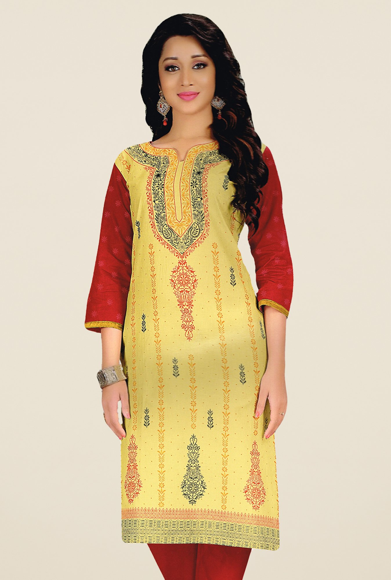 Salwar Studio Yellow Unstitched Kurti