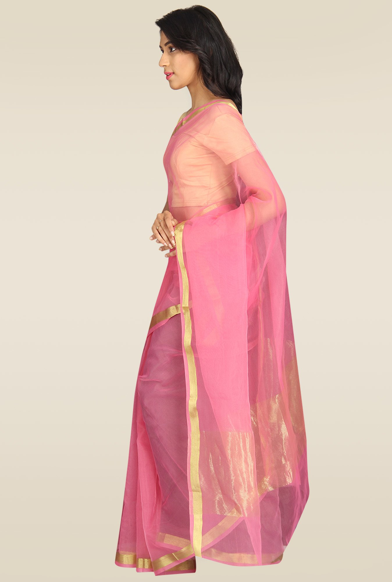 Pavecha Pink Banarasi Gold Zari Cotton Silk Saree