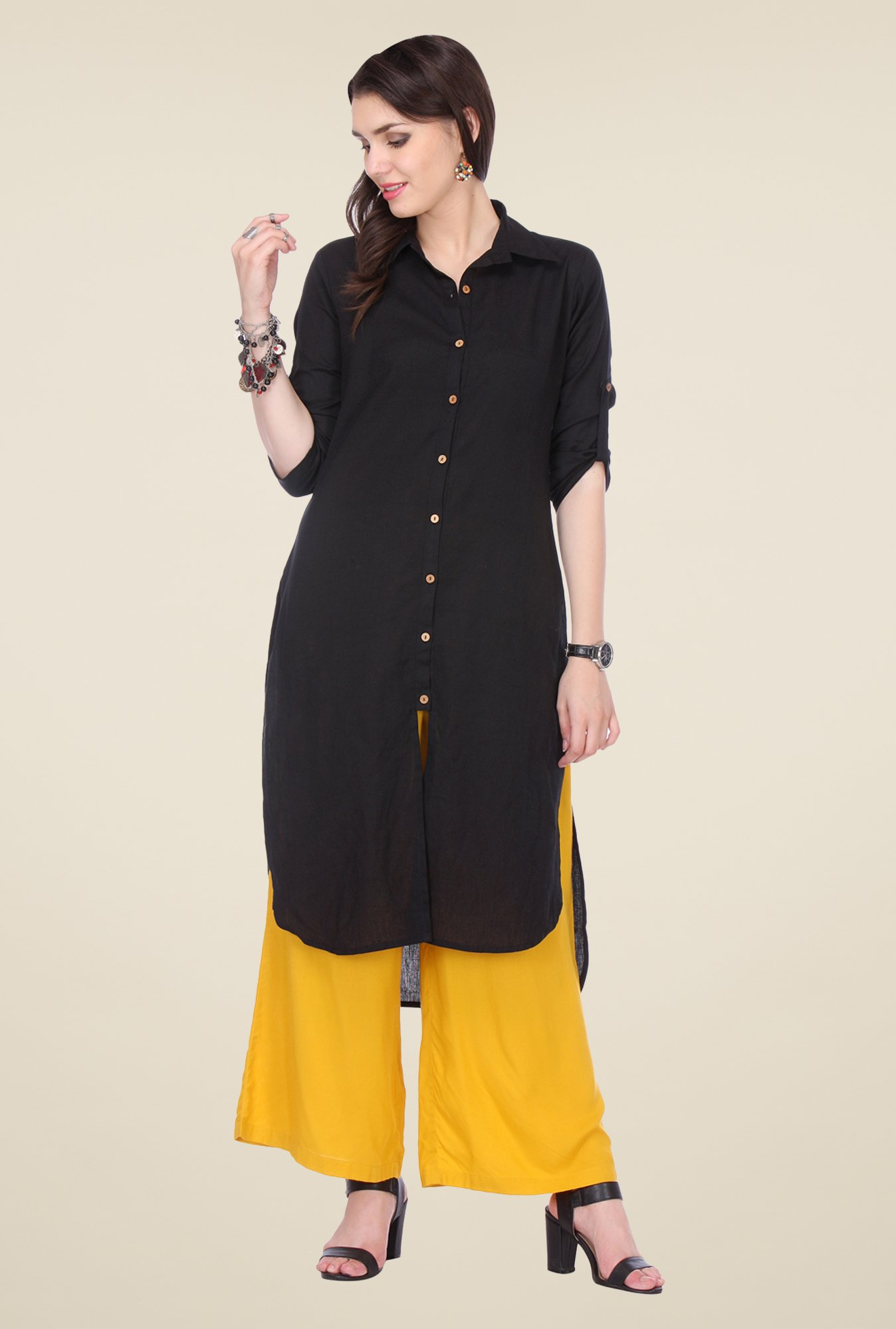 Varanga Black & Yellow Solid Kurta With Palazzo