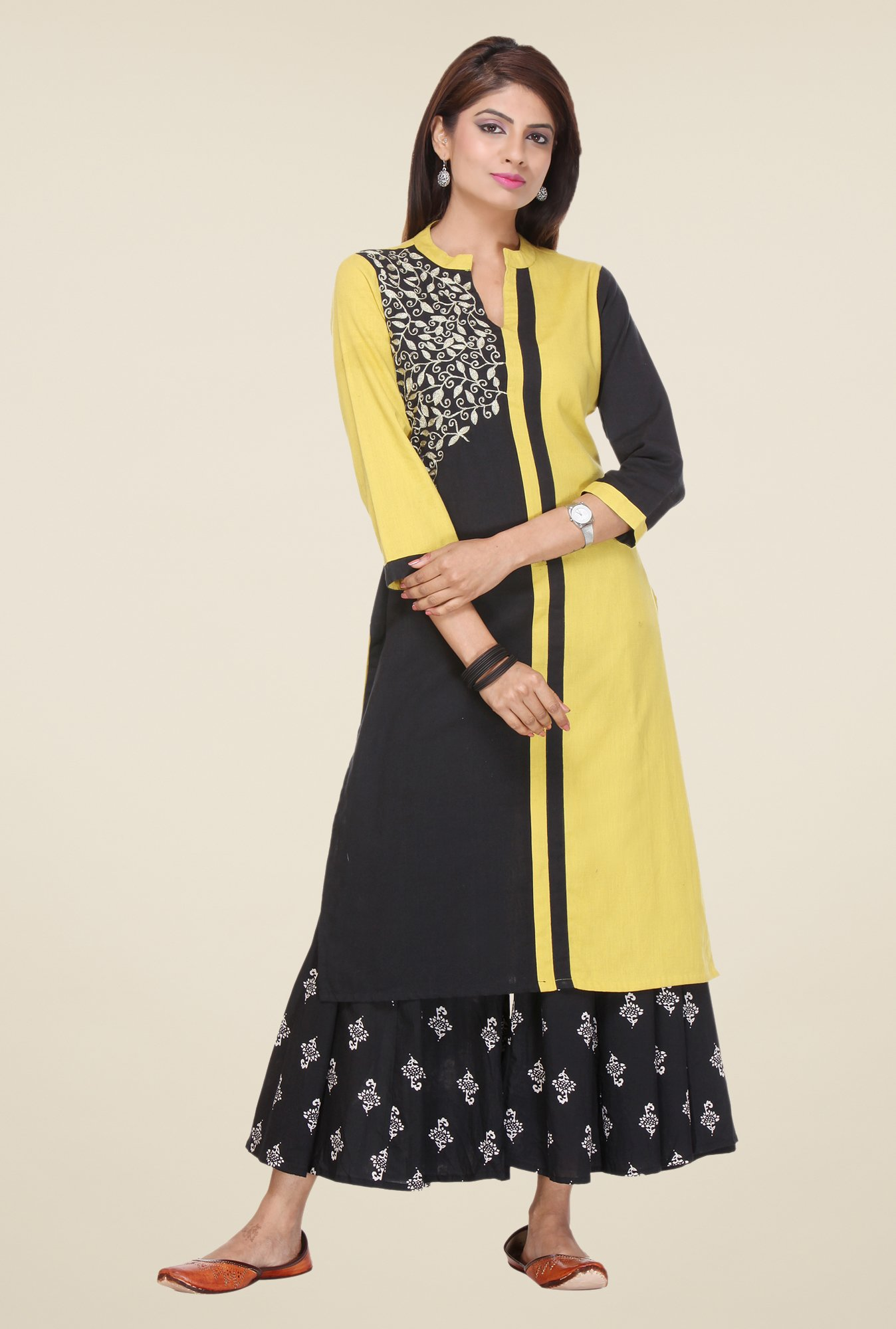 Varanga Yellow & Black Embroidered Kurta With Palazzo