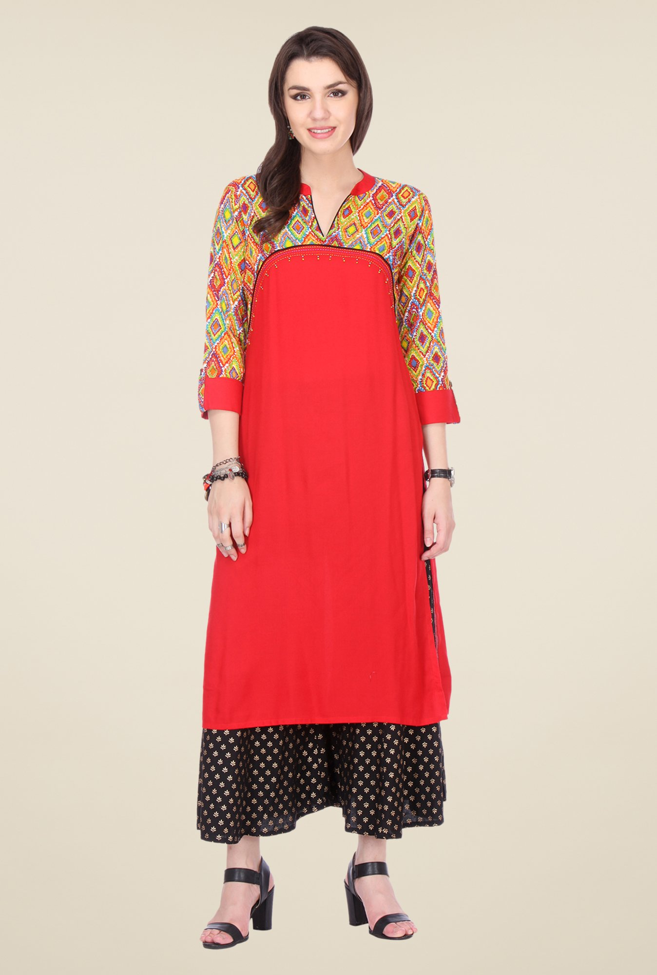 Varanga Red & Black Printed Kurta With Palazzo