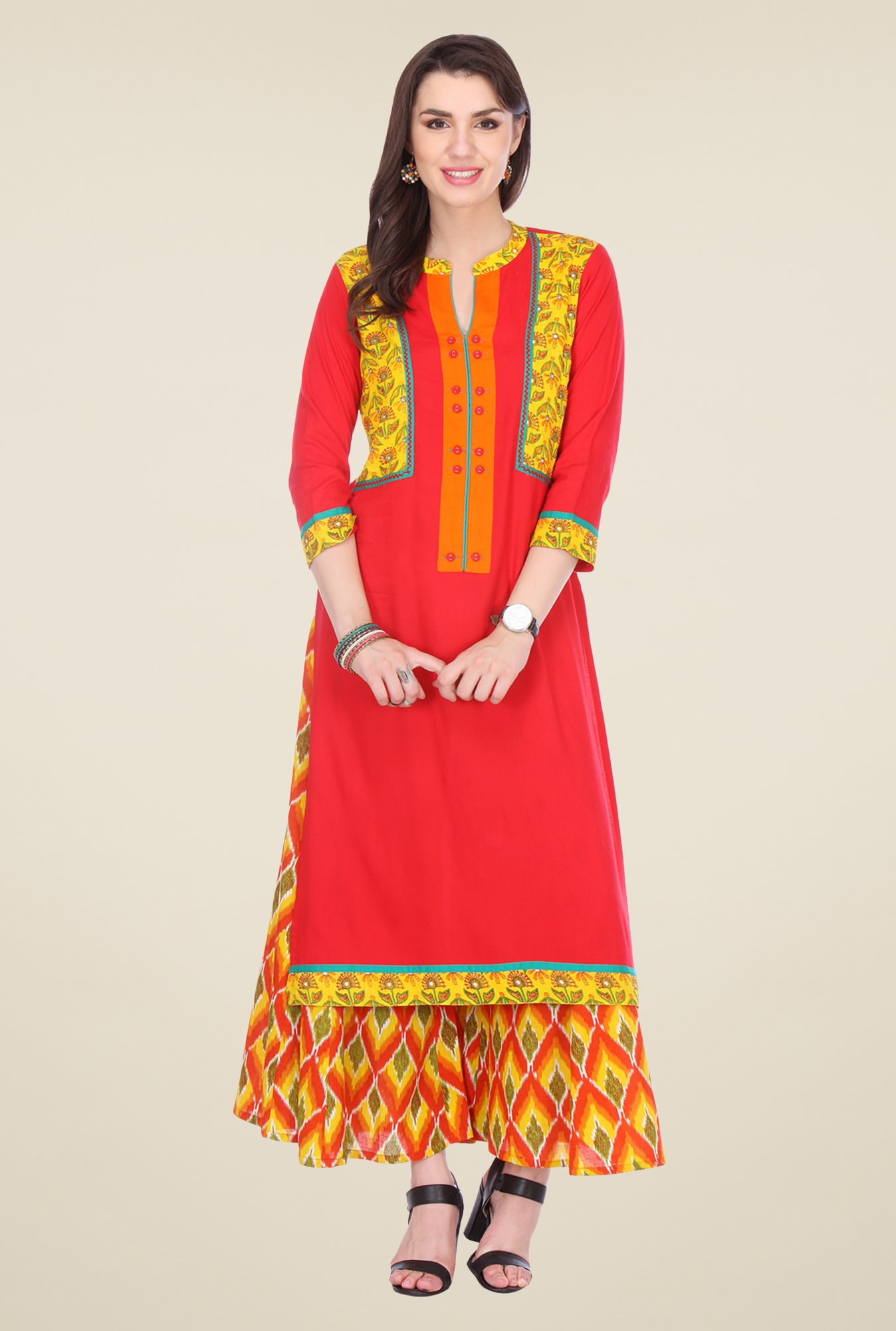 Varanga Red & Yellow Embroidered Kurta With Palazzo