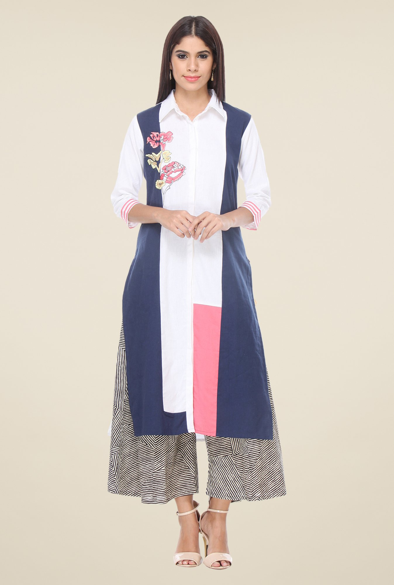 Varanga White & Black Embroidered Kurta With Palazzo