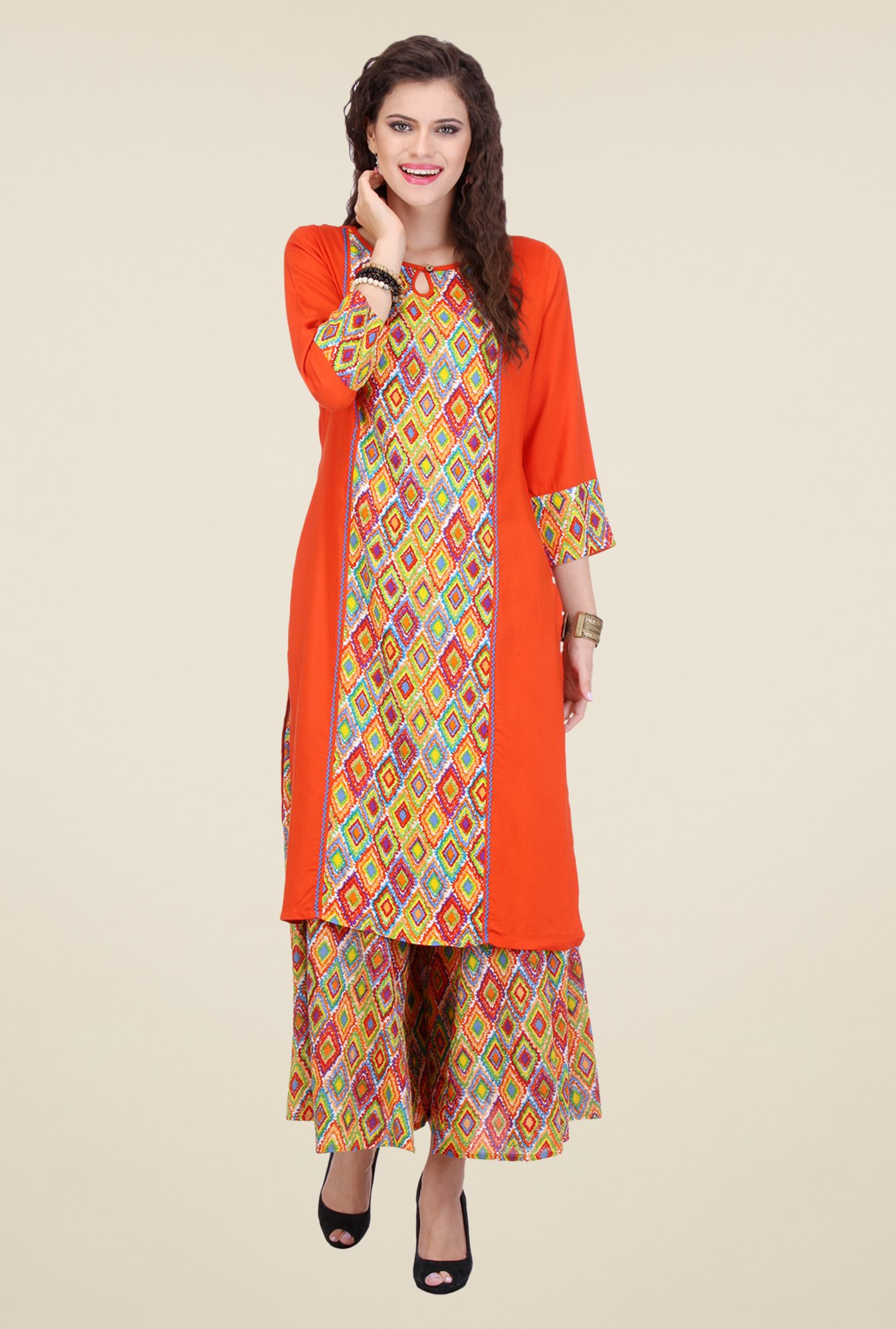 Varanga Orange Printed Kurta With Palazzo
