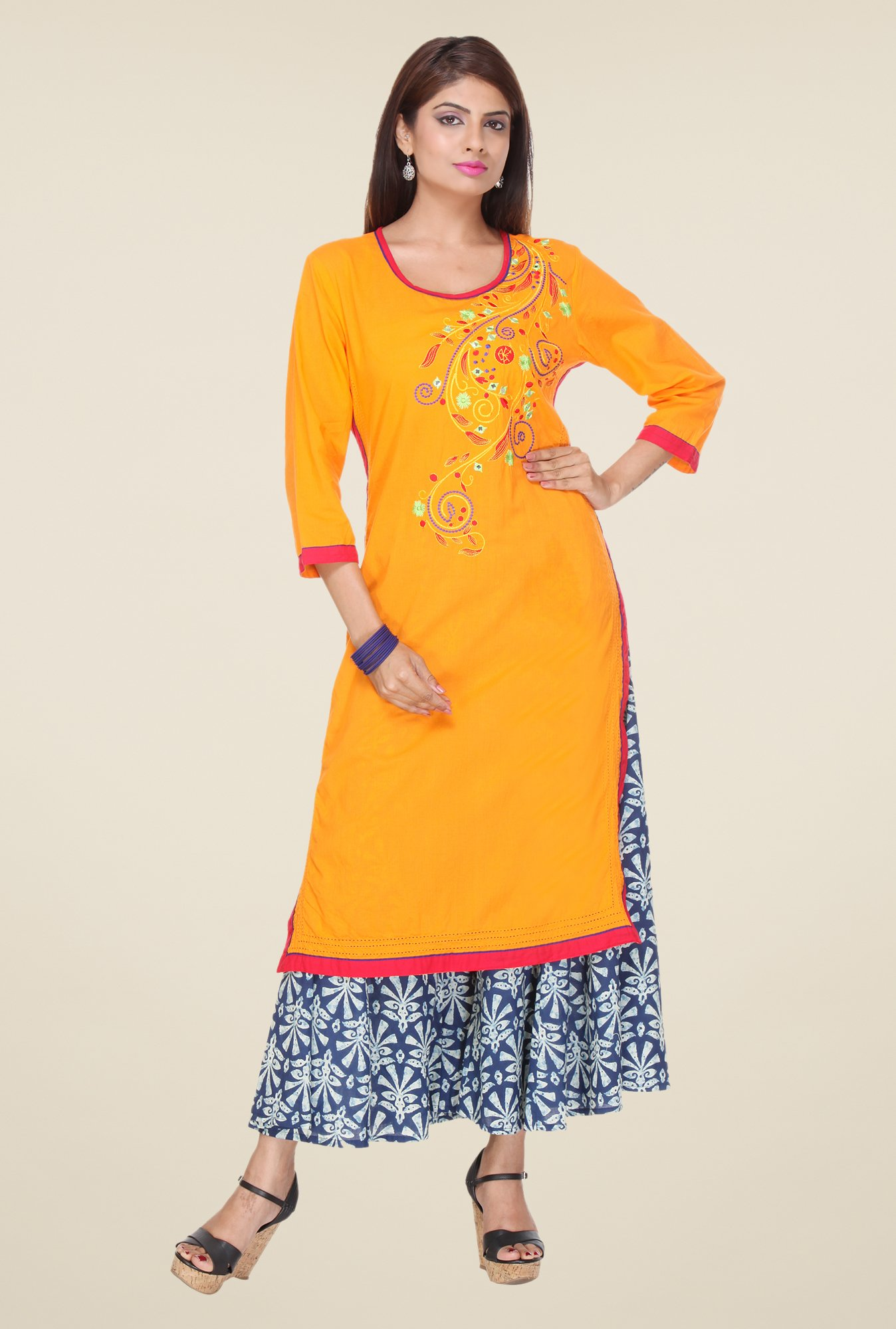 Varanga Orange & Navy Embroidered Kurta With Palazzo