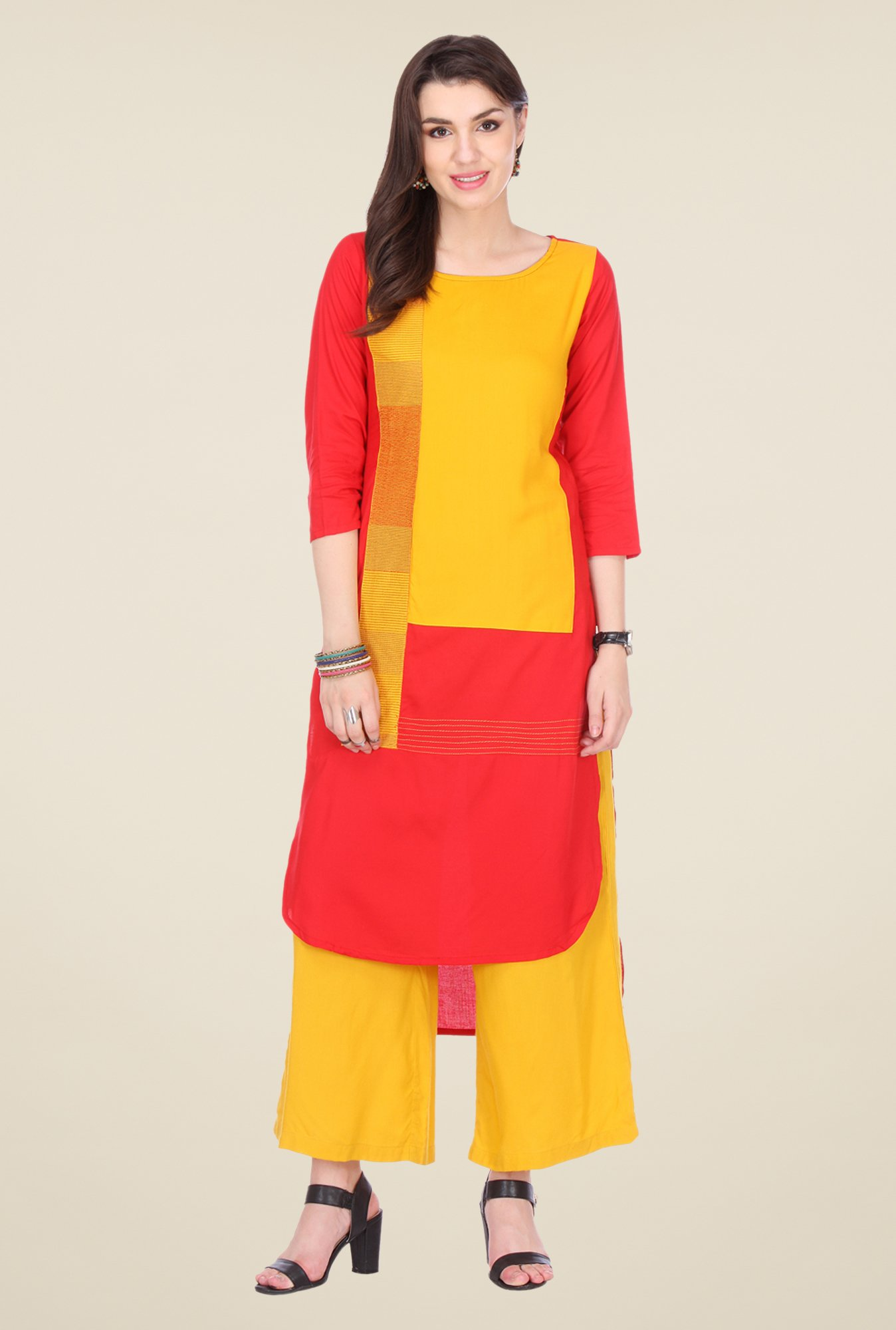 Varanga Red & Mustard Embroidered Kurta With Palazzo