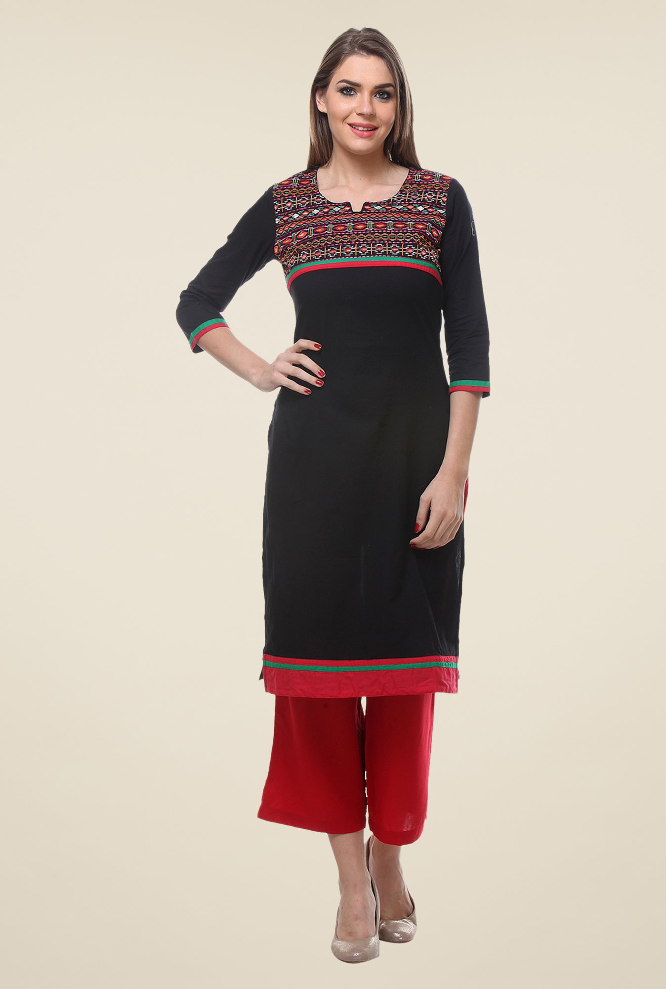 Varanga Black & Red Embroidered Kurta With Palazzo
