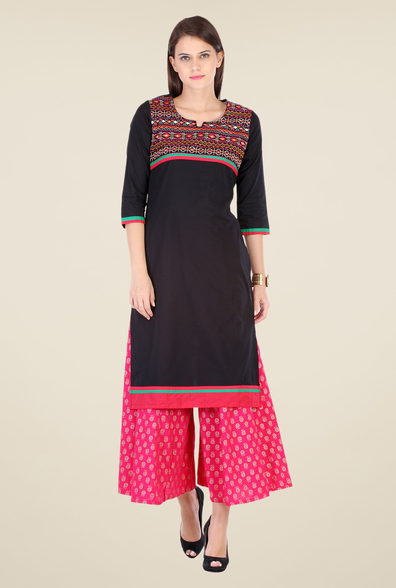 Varanga Black & Pink Embroidered Kurta With Palazzo