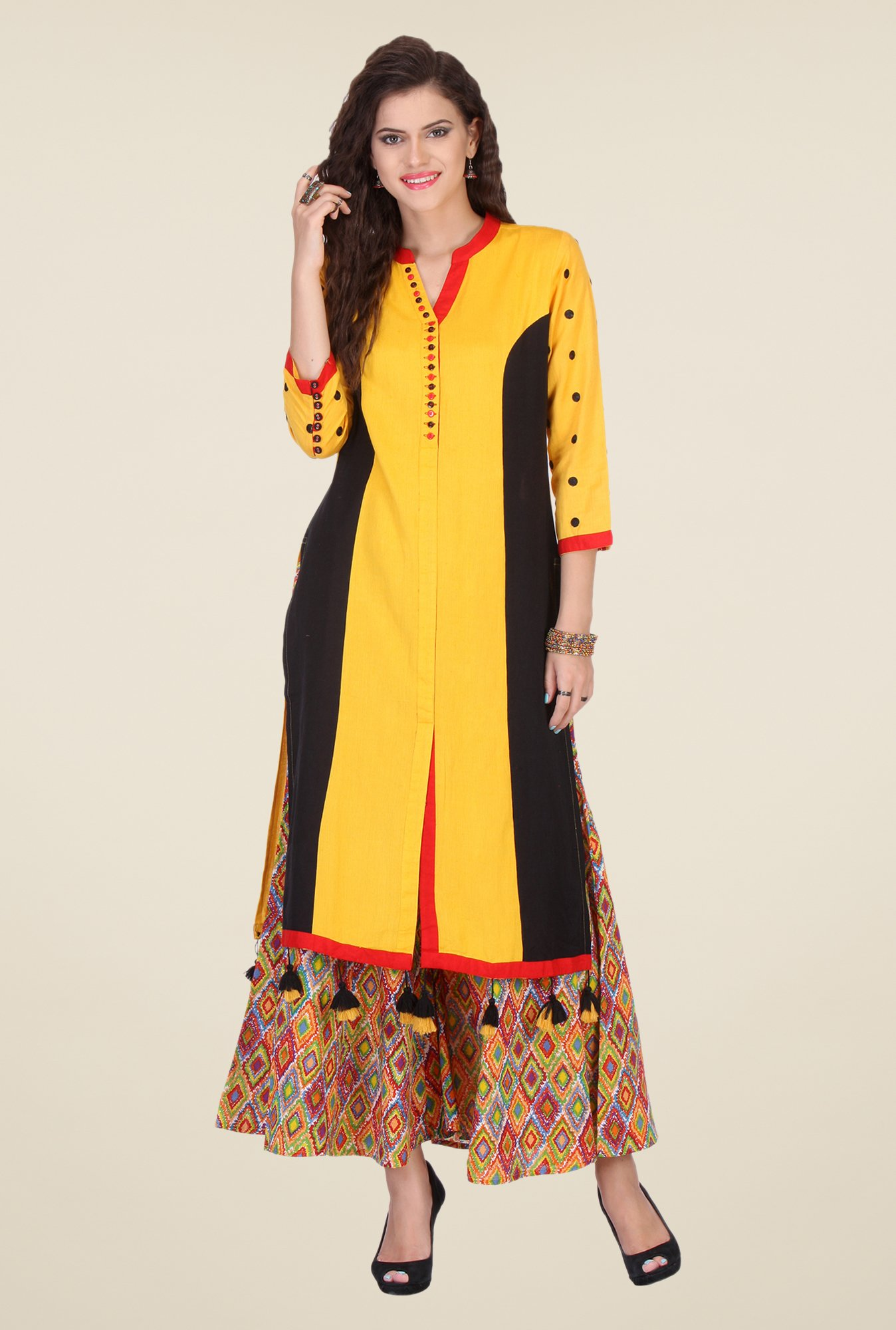 Varanga Yellow Solid Kurta With Palazzo